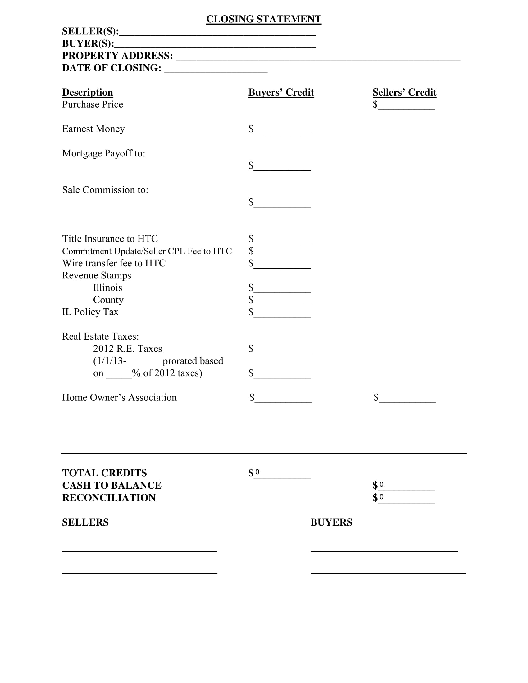 property purchase closing statement form 1