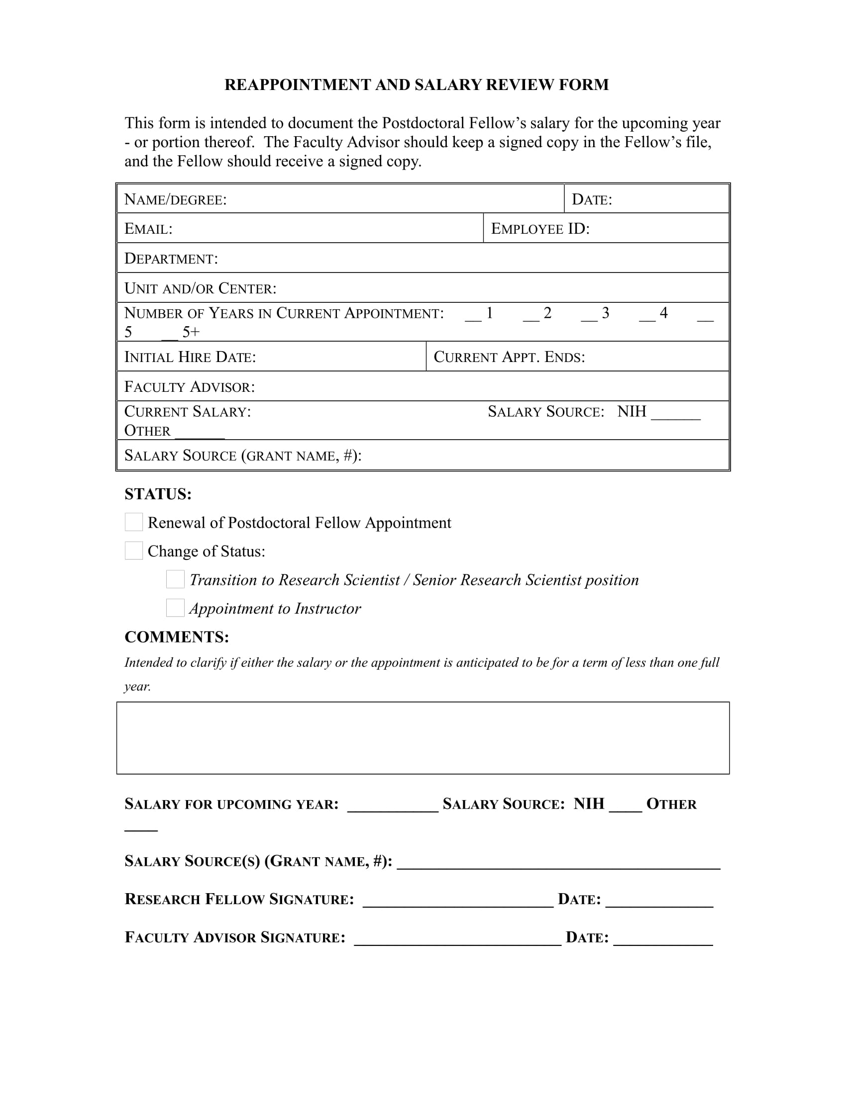reappointment and salary review form 1
