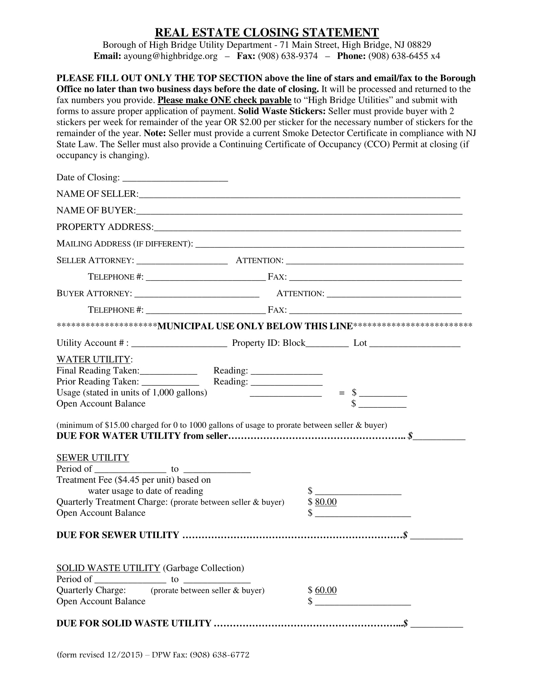 real estate closing statement form 11