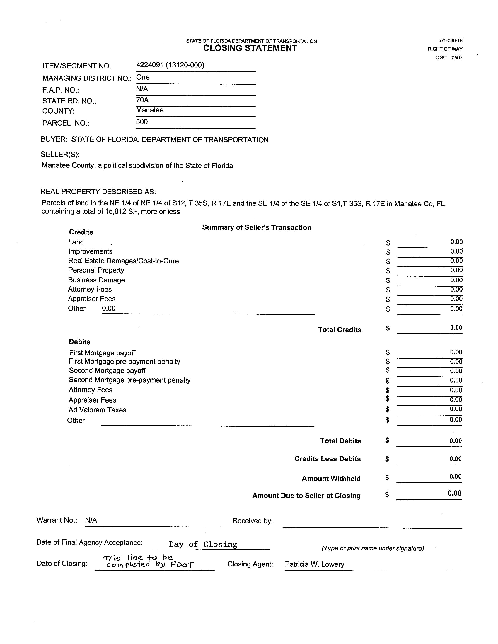 real property closing statement sample form 1