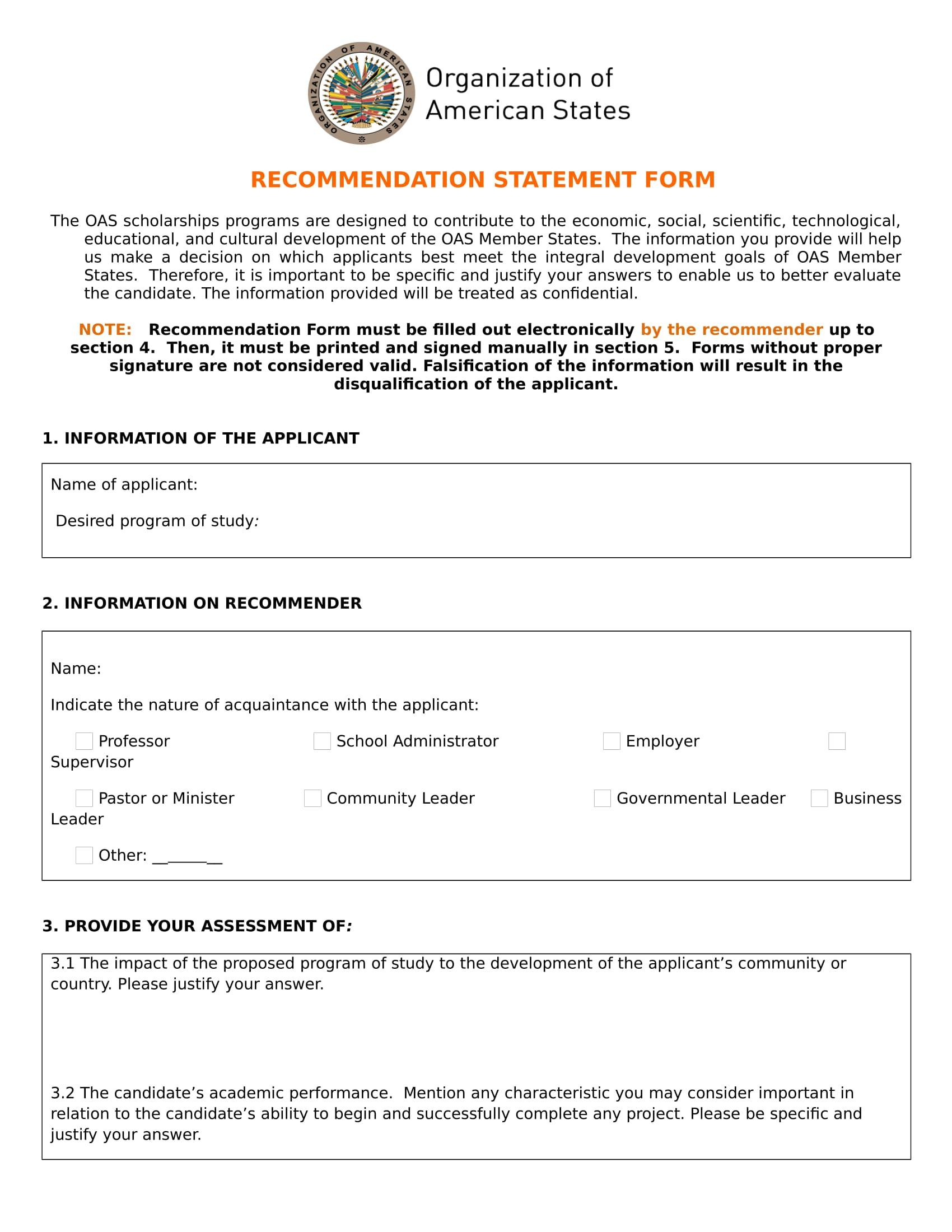 recommendation statement form sample 1
