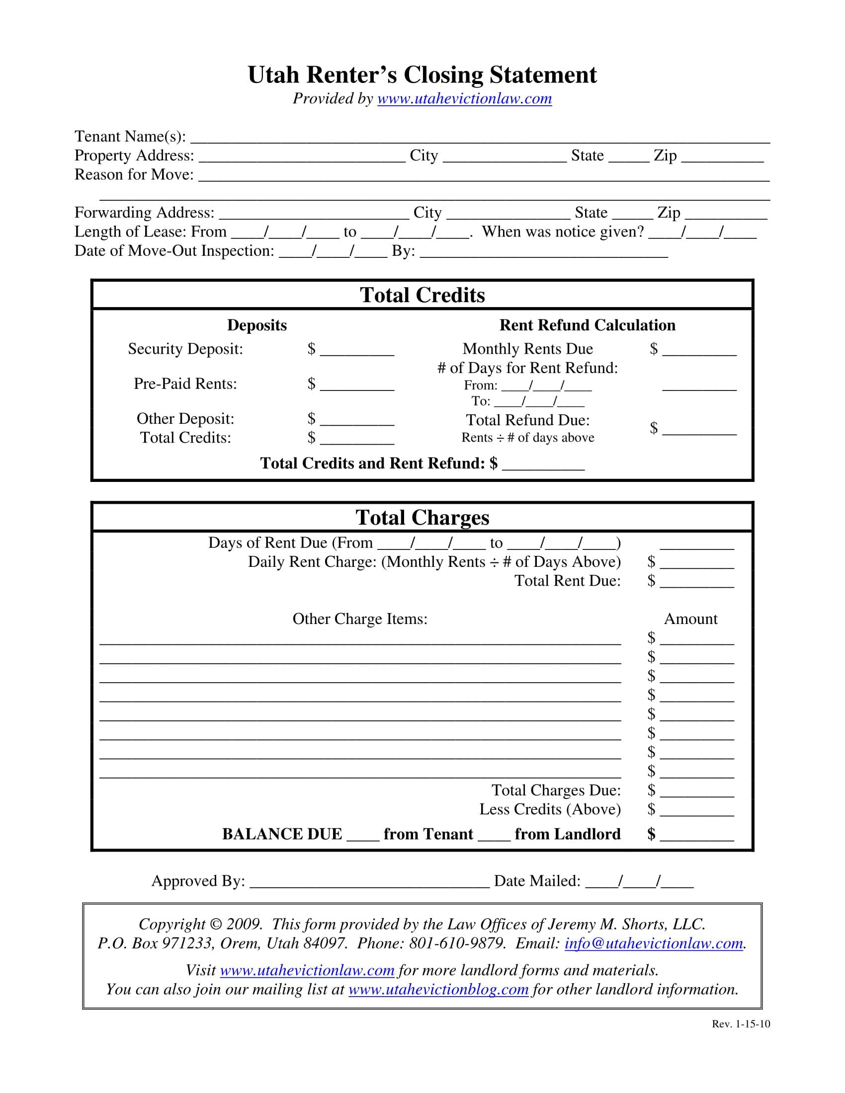 renter closing statement form 1