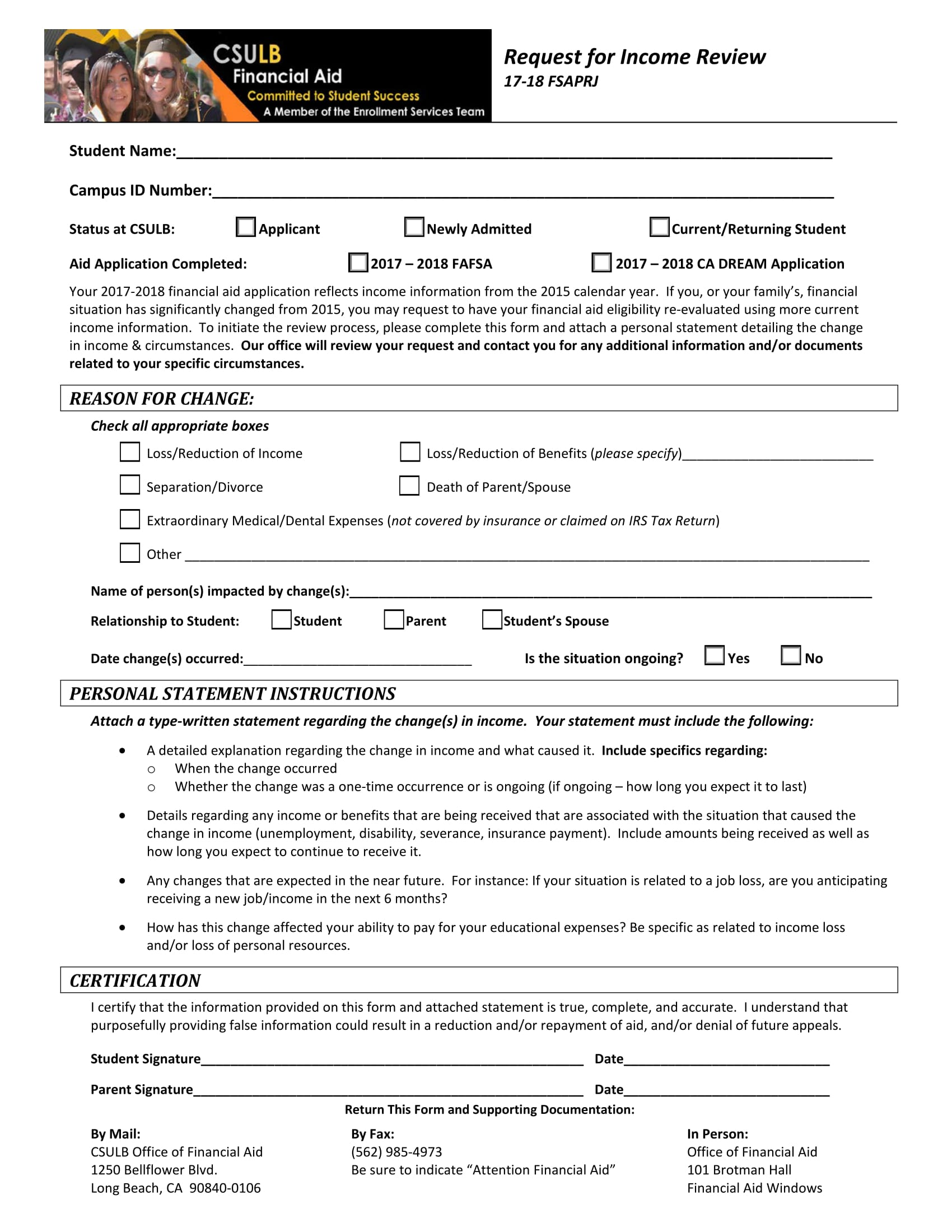 request for income review form 1