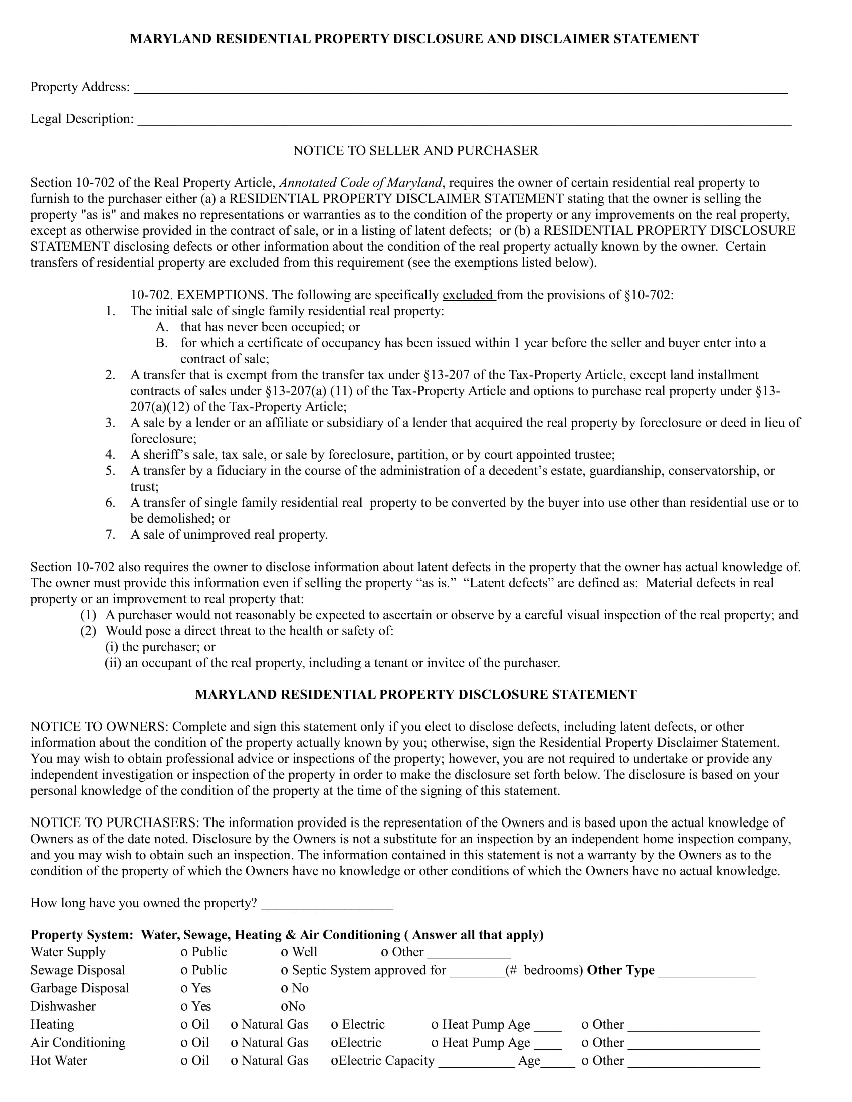 residential property disclosure statement form 1