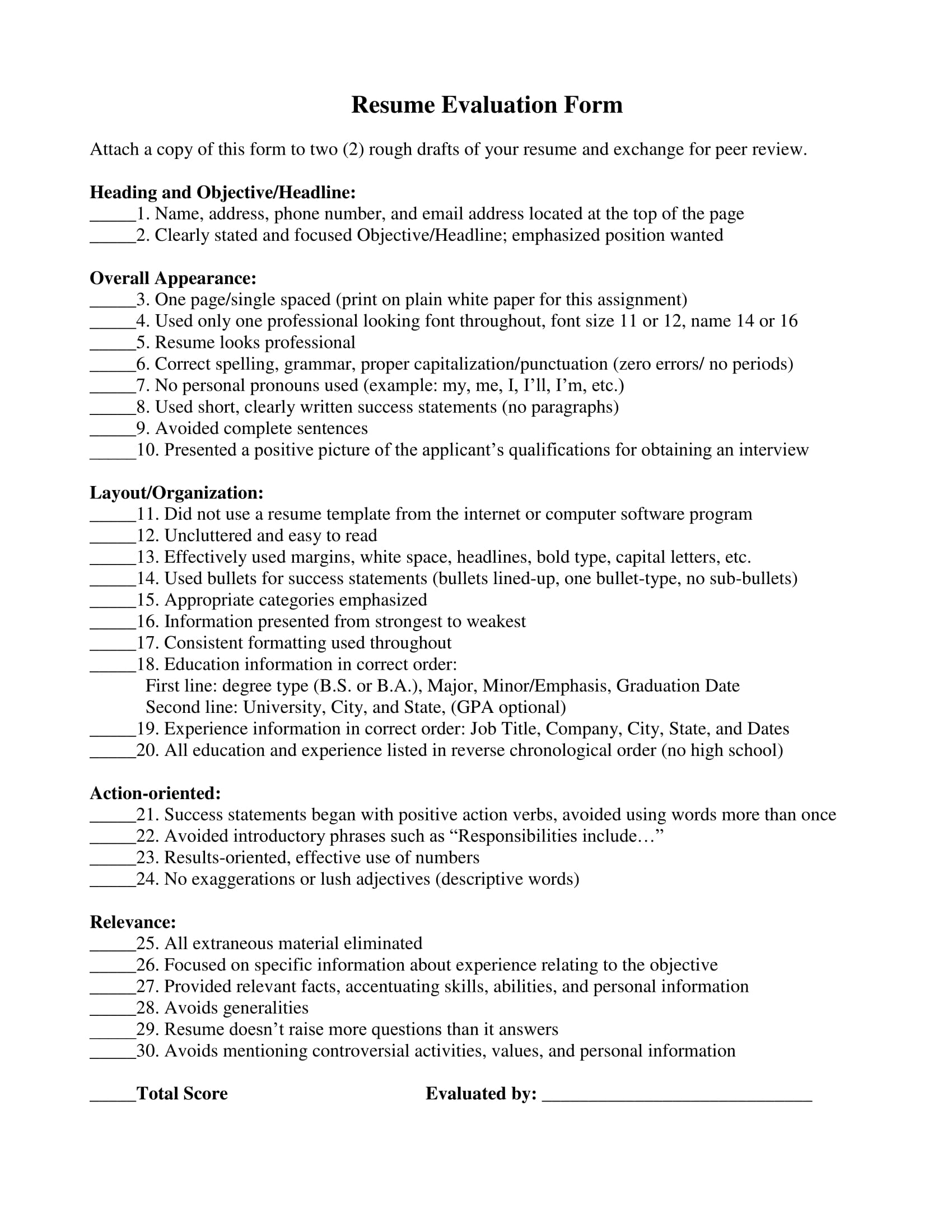 14 Resume Evaluation Forms Free Word Pdf Format Download