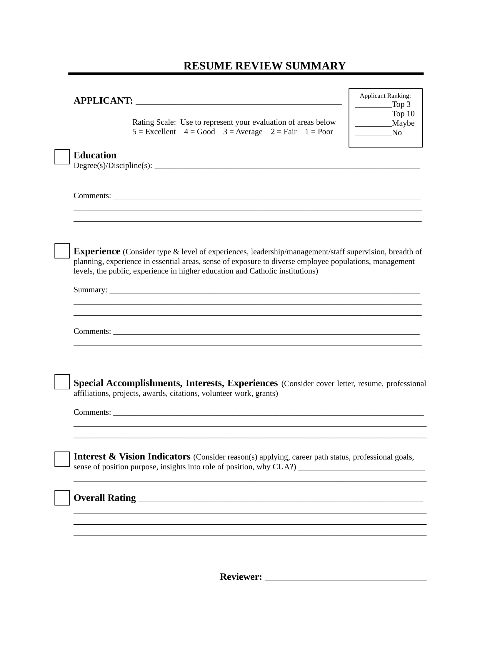 Free 14 Resume Evaluation Forms In Pdf Ms Word
