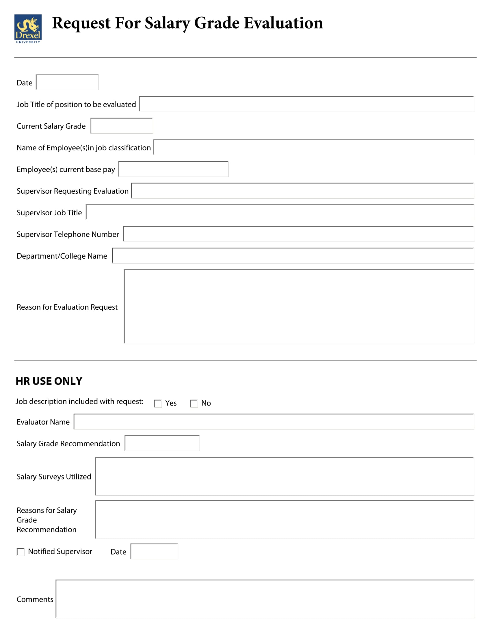 salary grade evaluation form 2