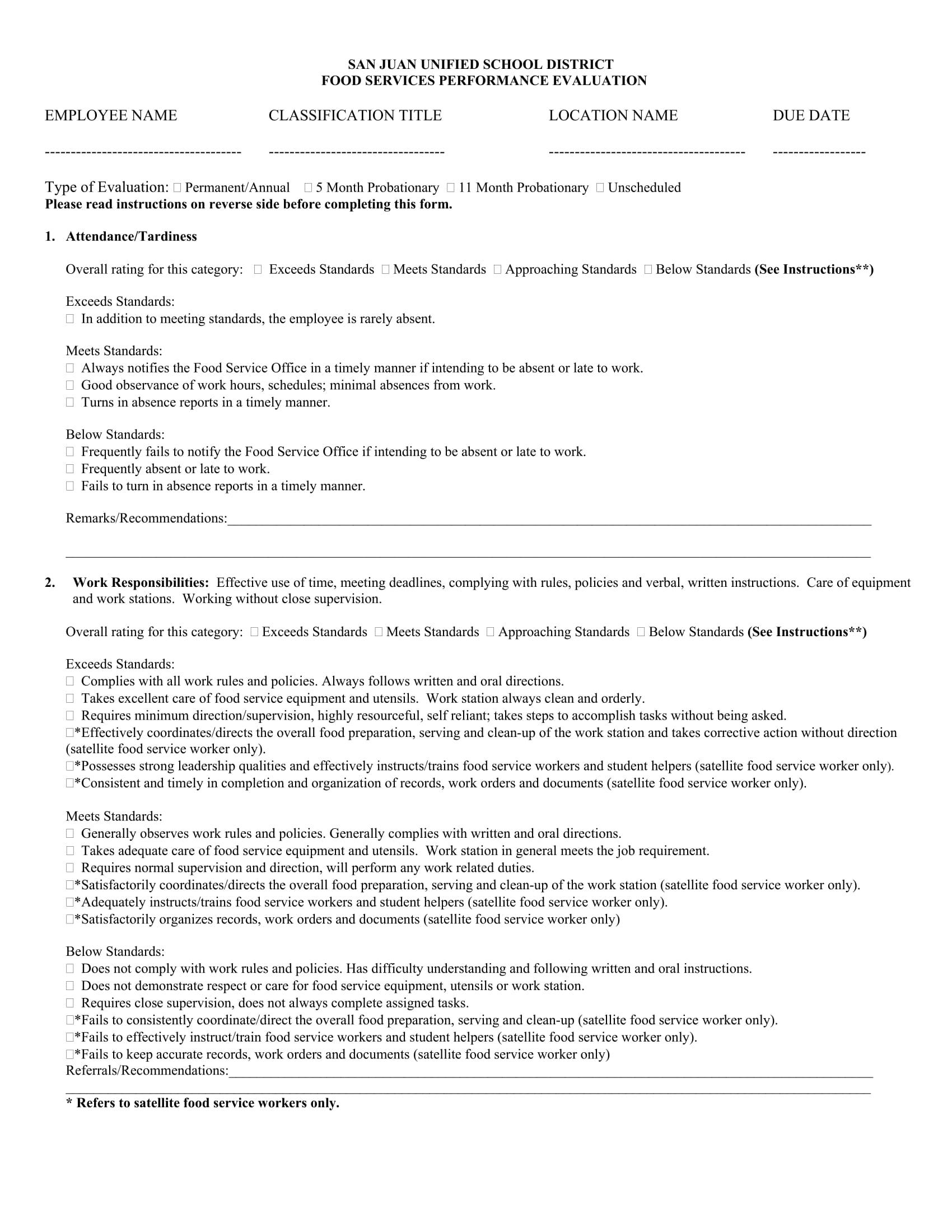 school food service performance evaluation form 1
