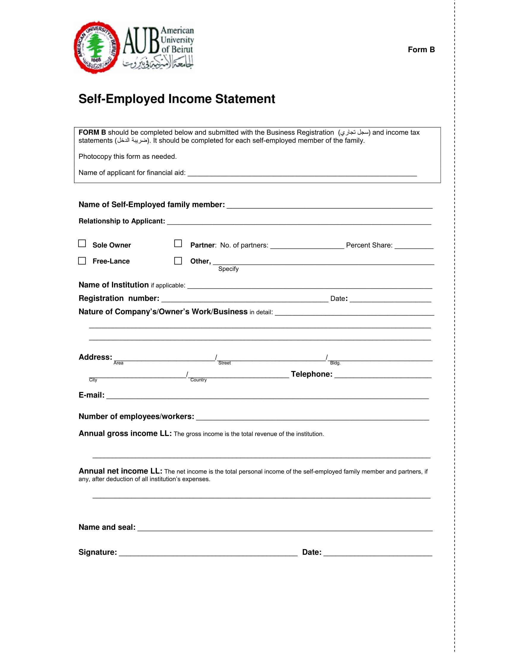 self employed income statement form 2