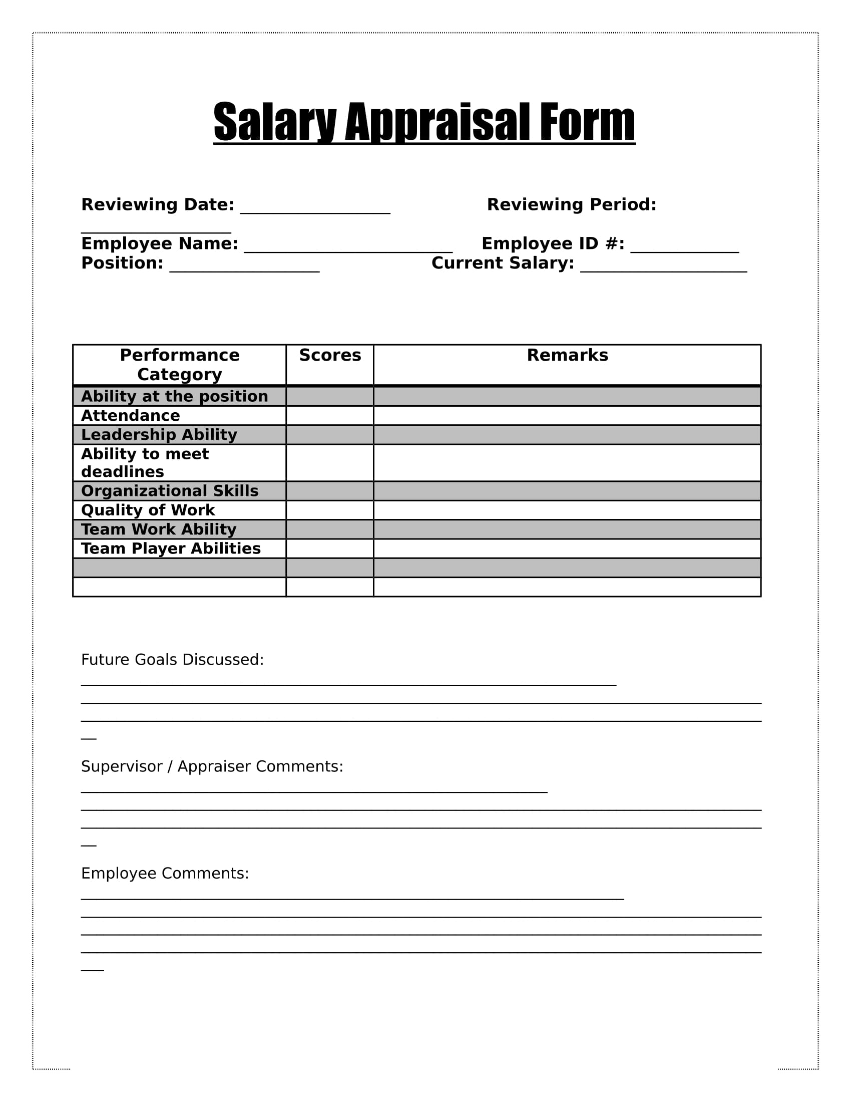 Simple Salary Appraisal Form Amazing Ideas