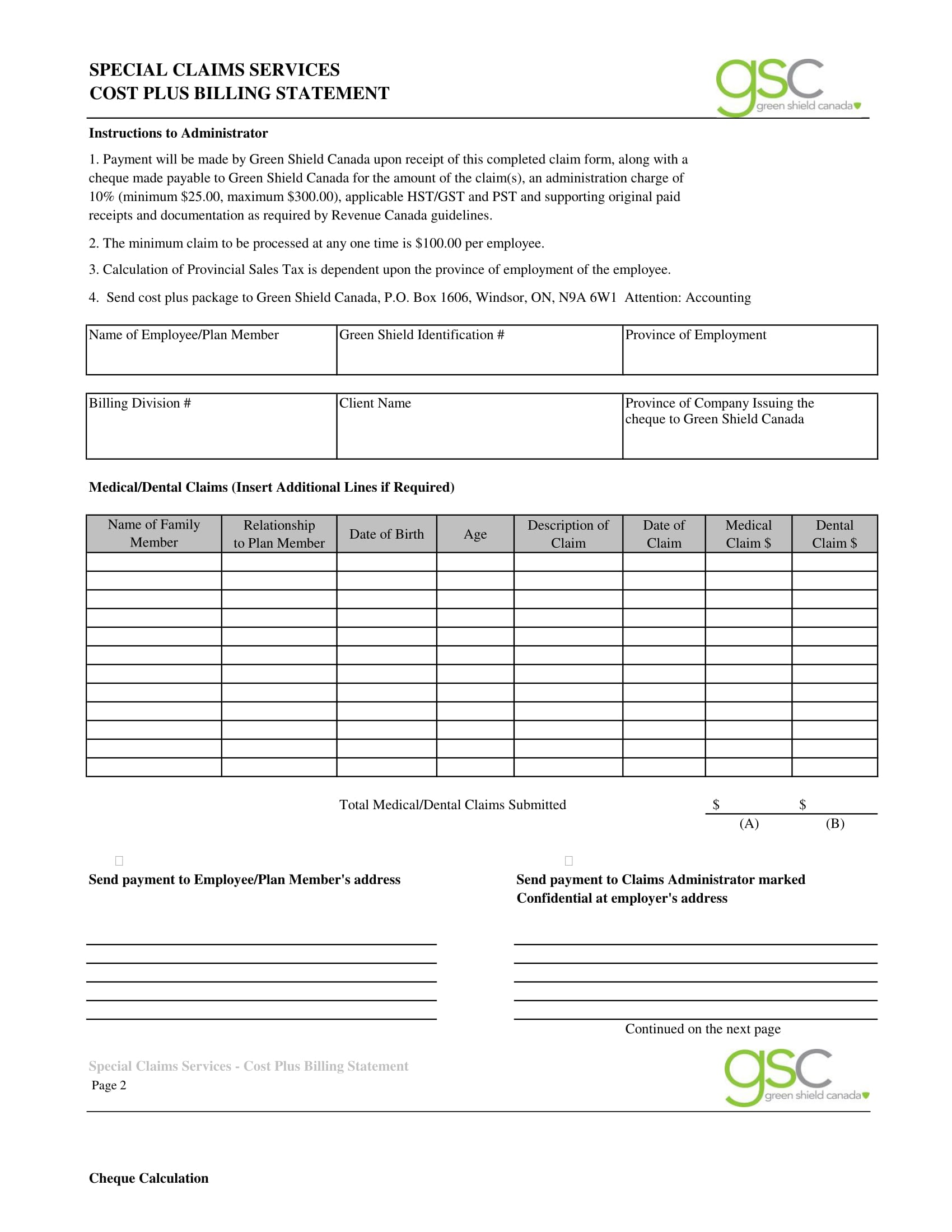 special claims billing statement form 1