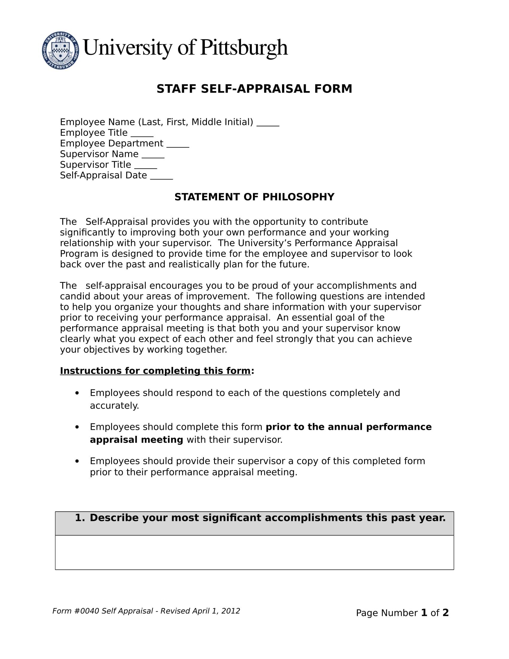 staff self appraisal form 1