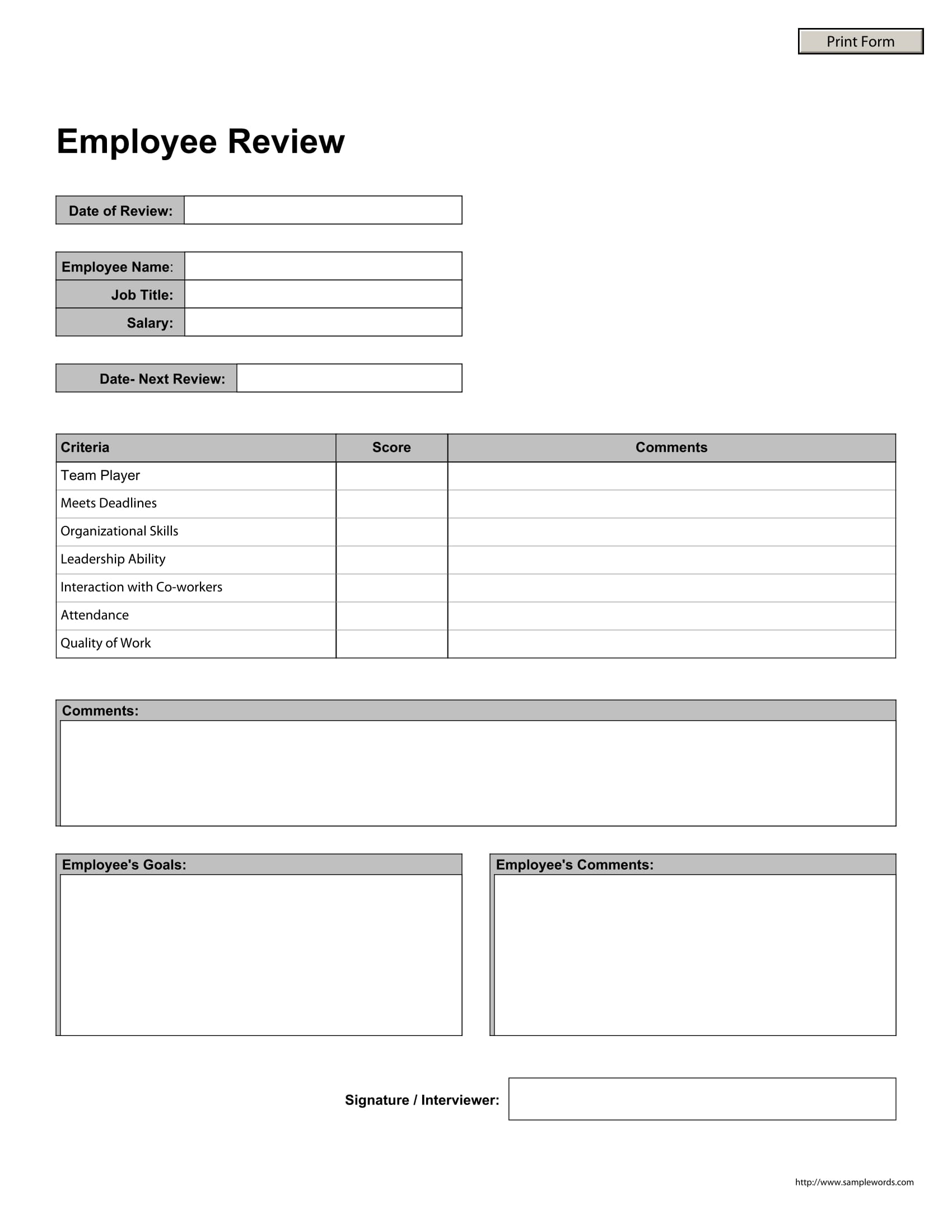 14+ Forms for Employee Reviews