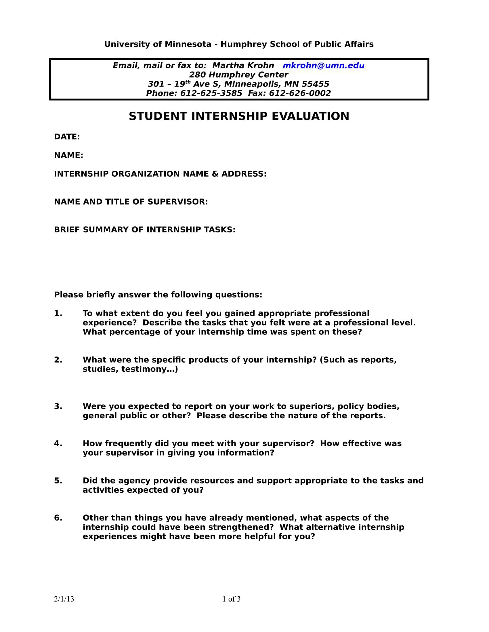 student internship evaluation form 1