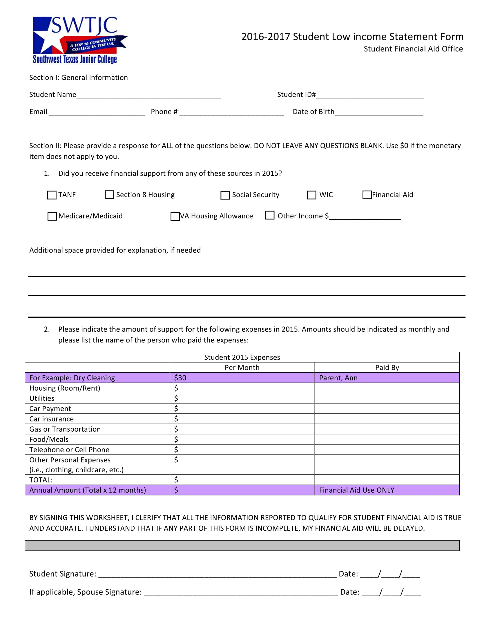 student low income statement form 1