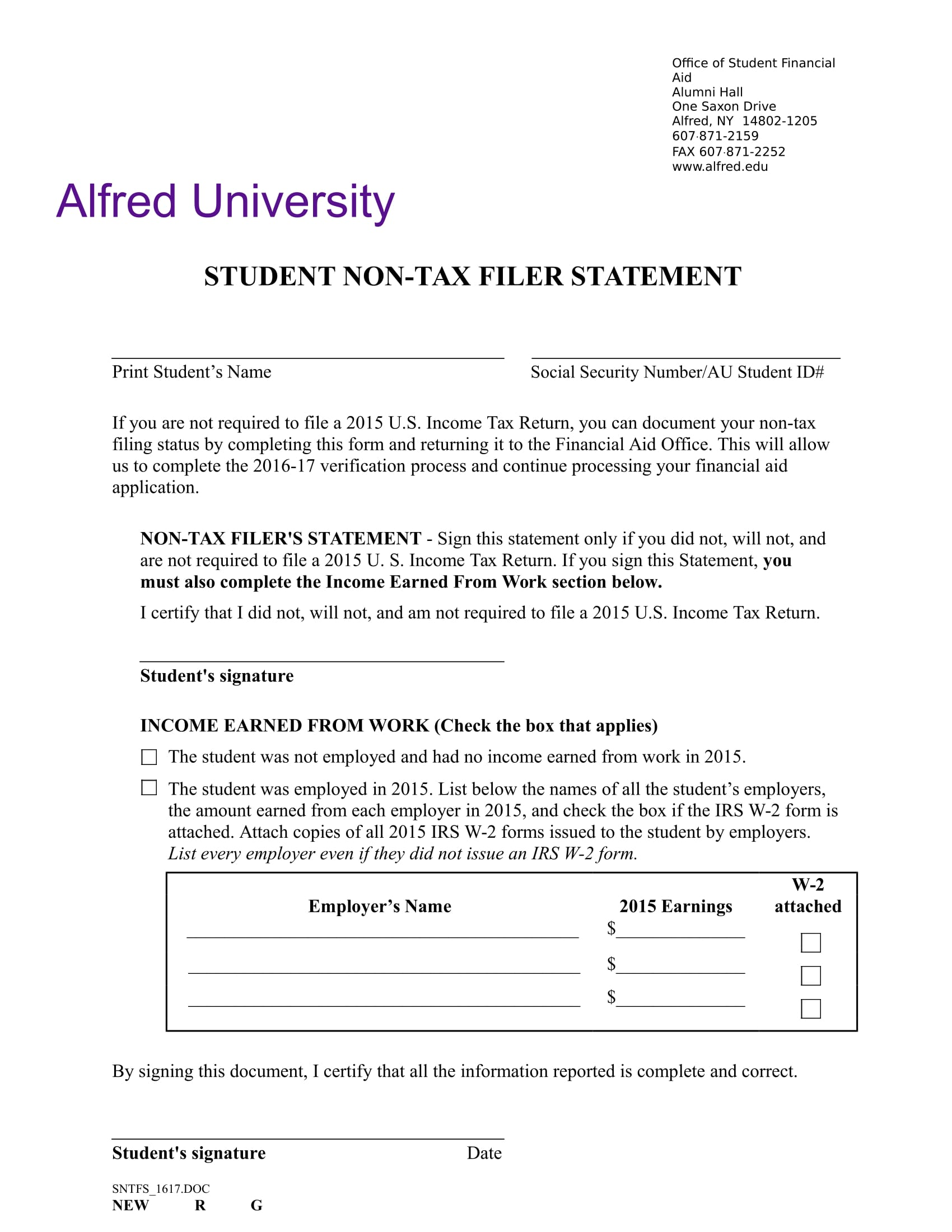 student non tax filer statement form 1