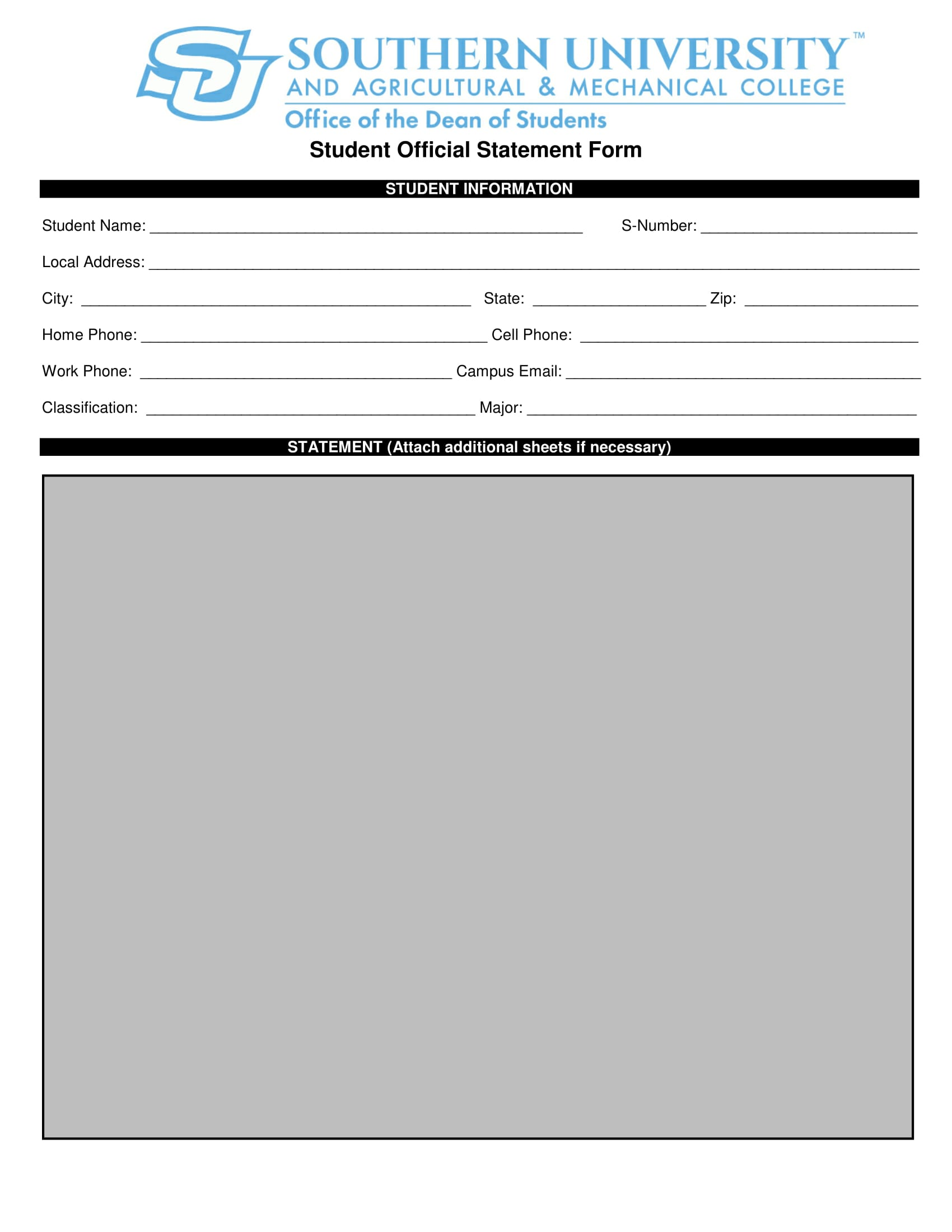 student official statement form 1