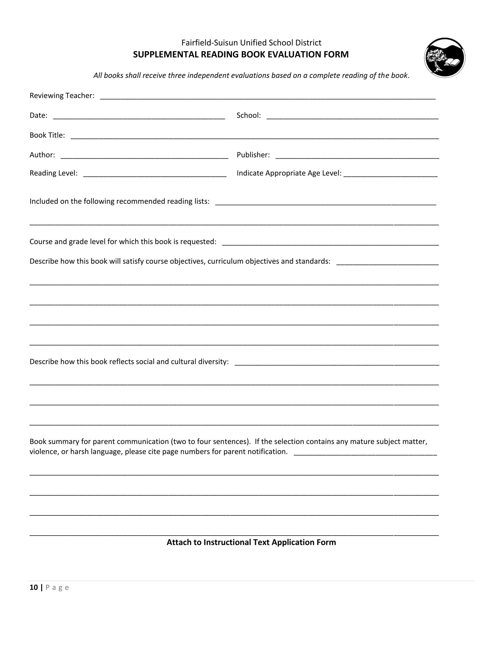 supplemental reading book evaluation form 1