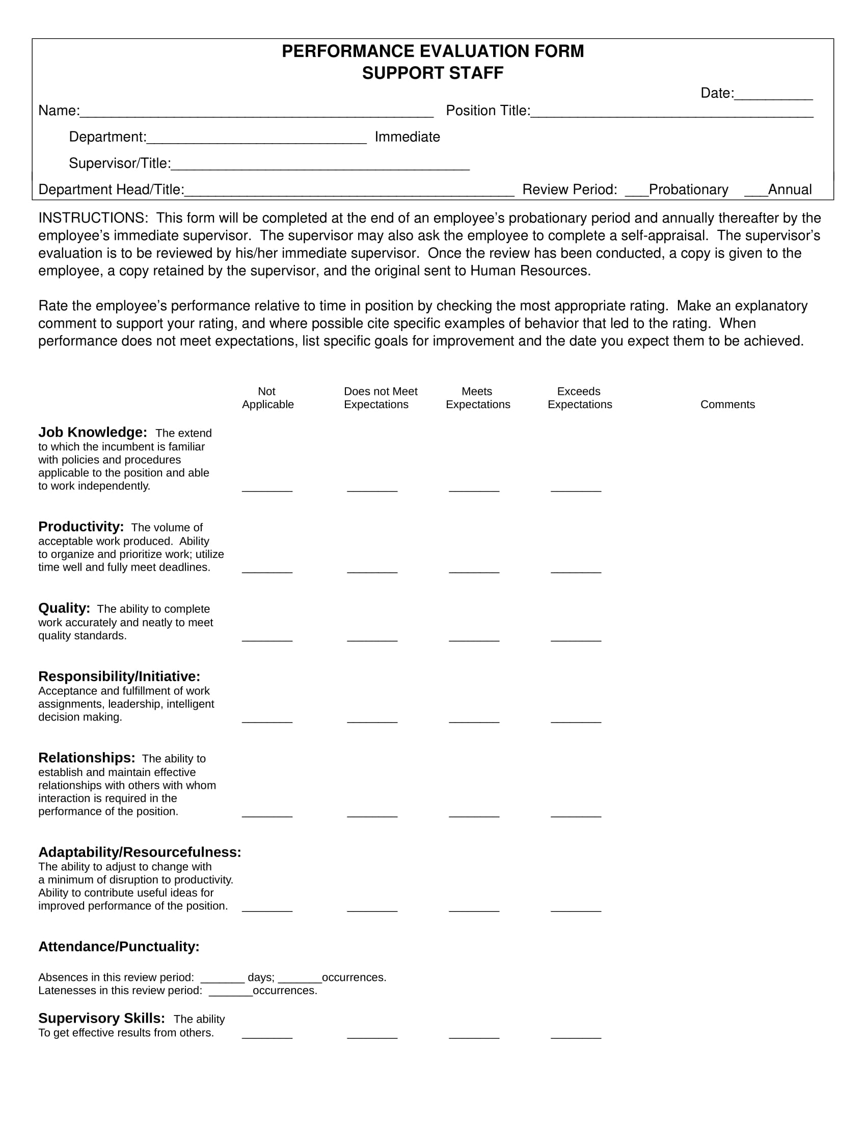 support staff performance review form 1