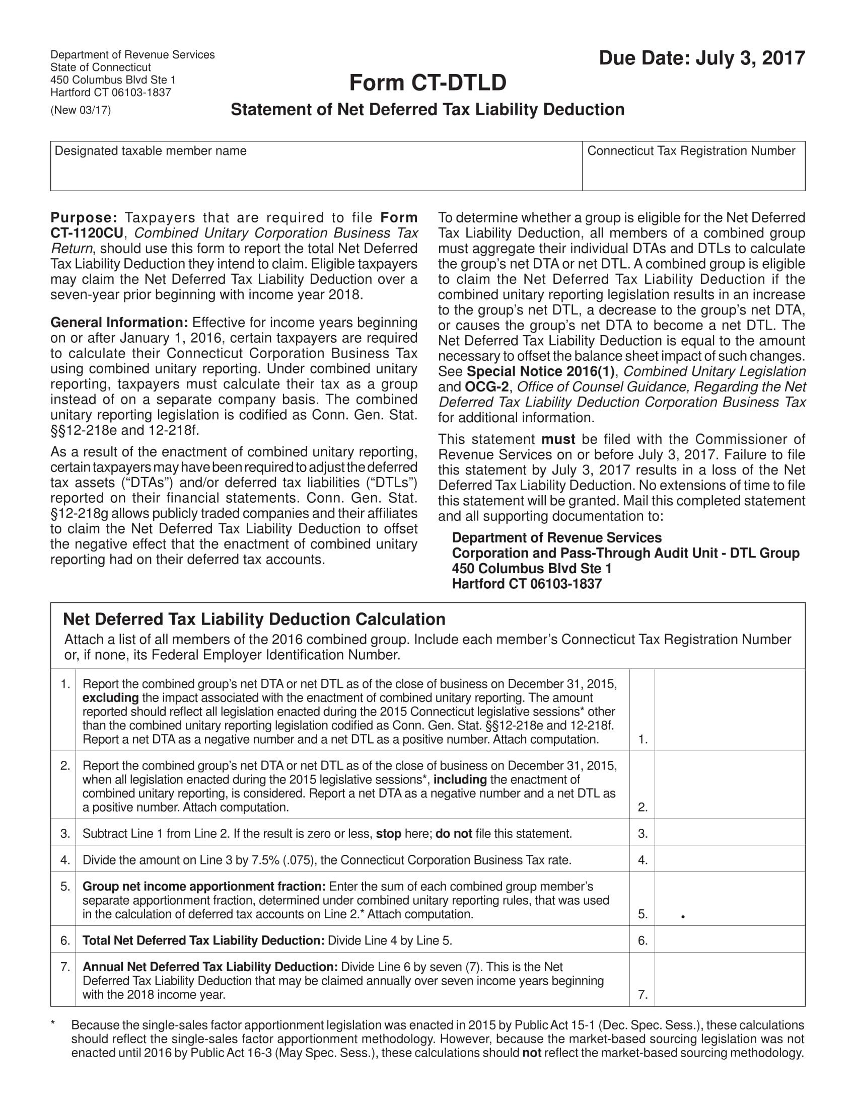 tax liability statement form 1