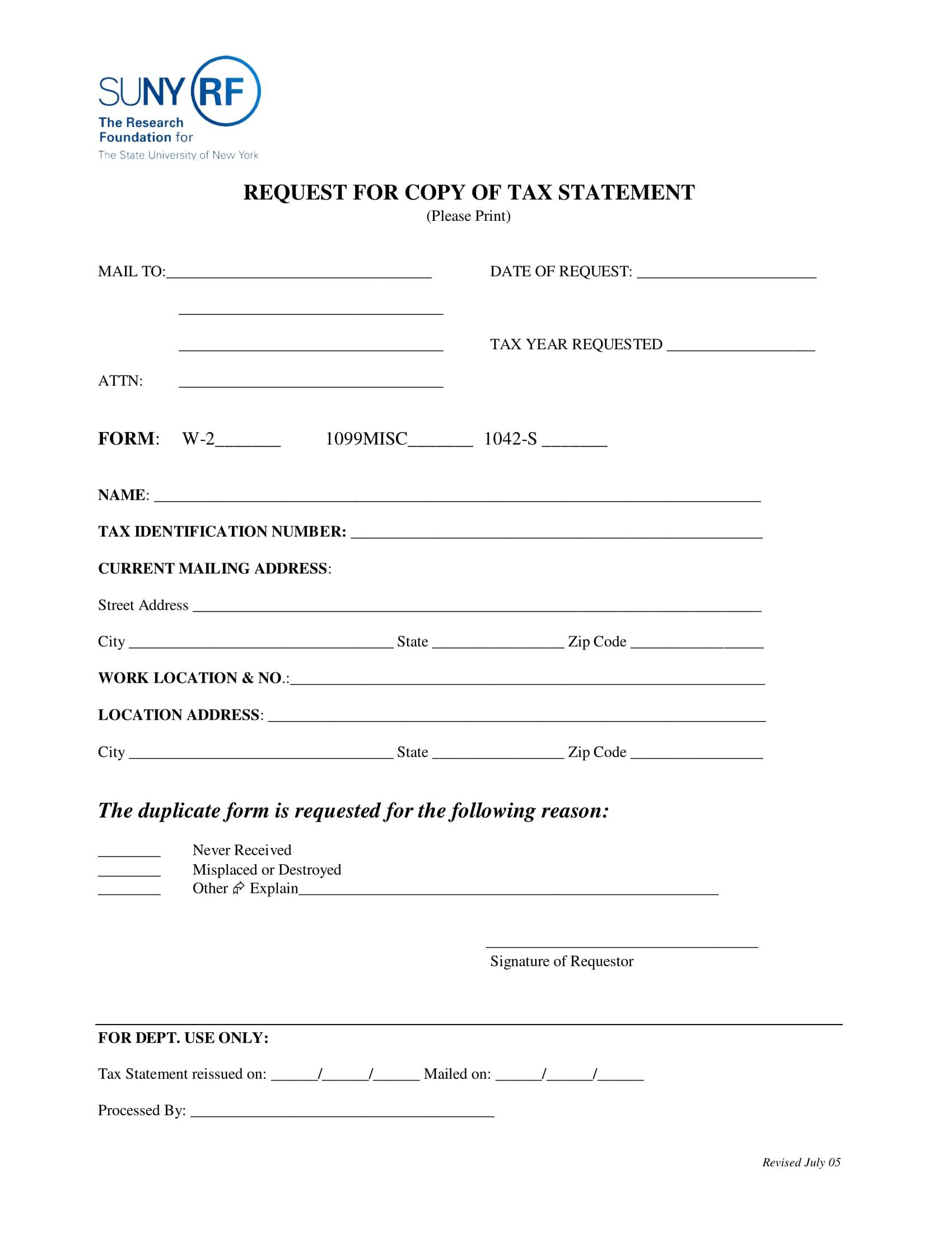 tax statement copy request form 1