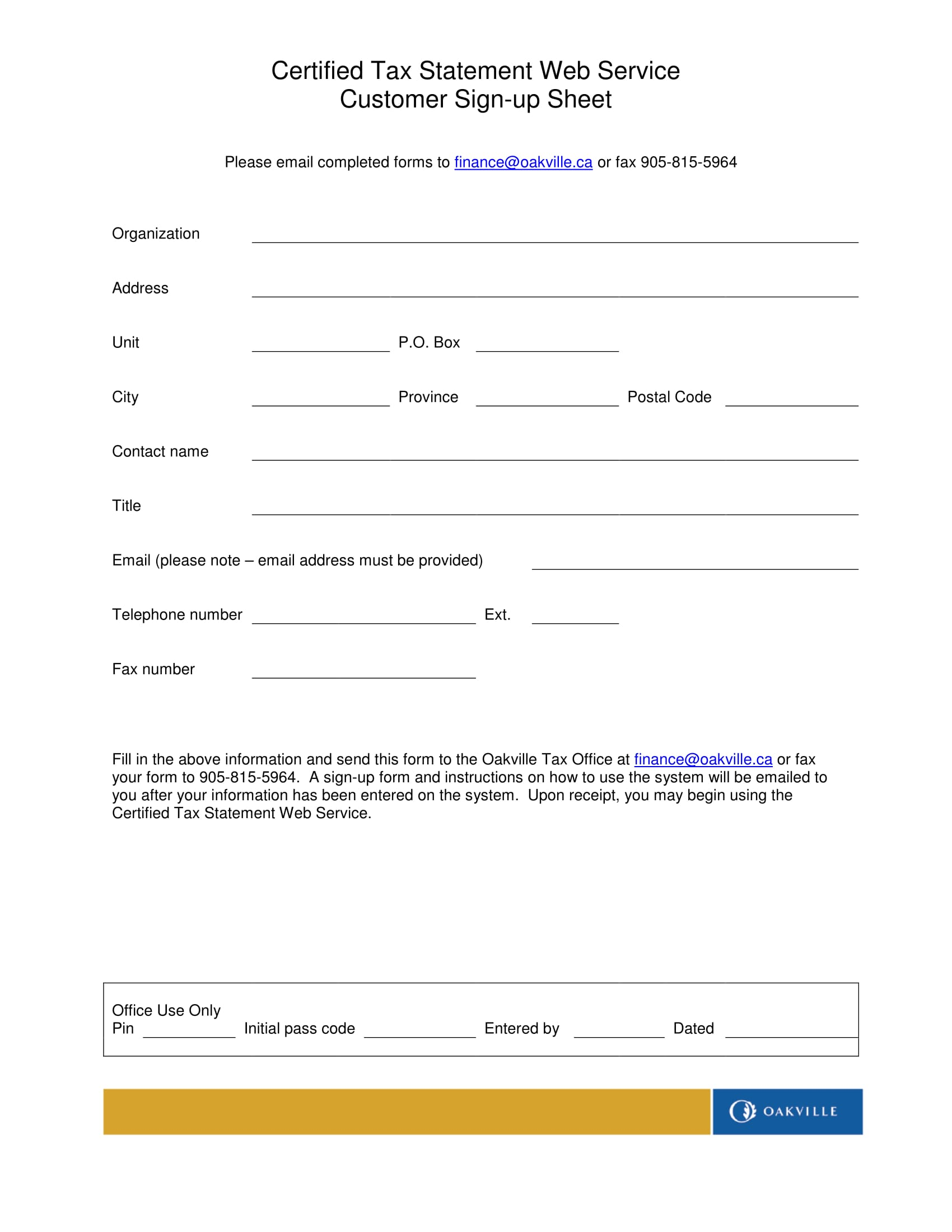 tax statement customer sign up form 1