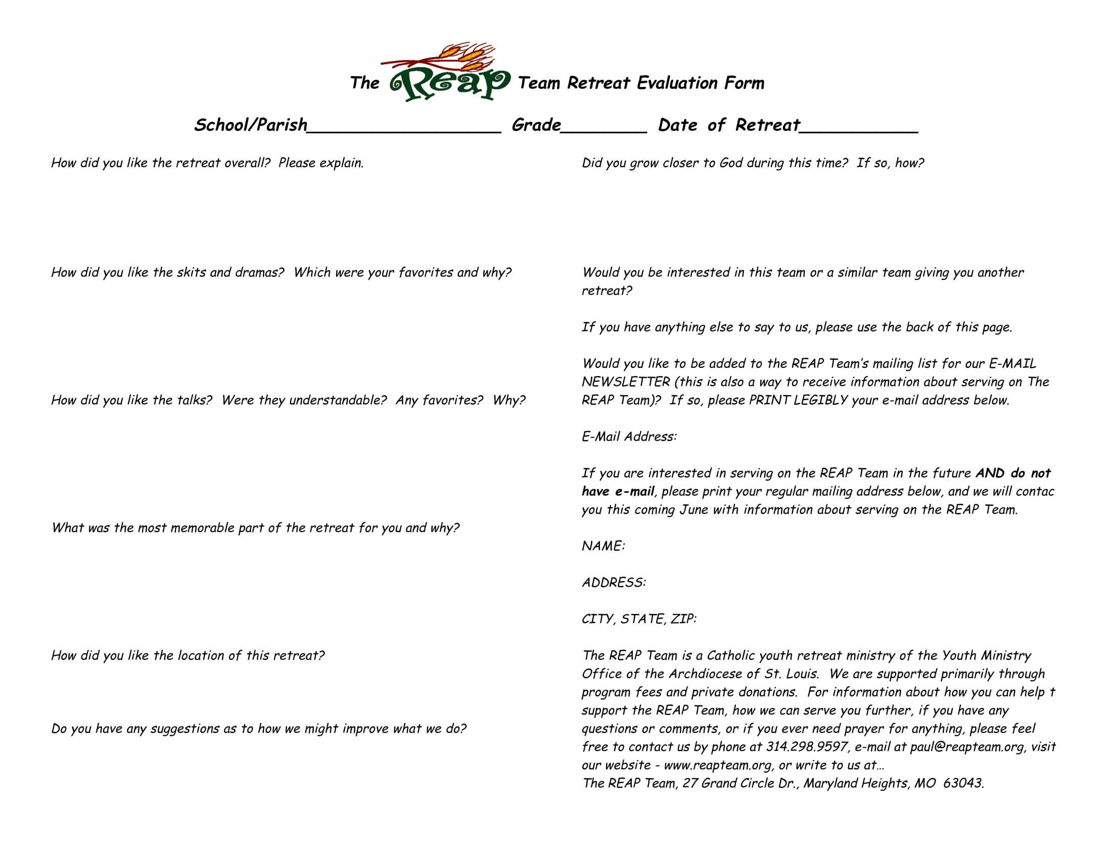 team retrest evaluation form 1