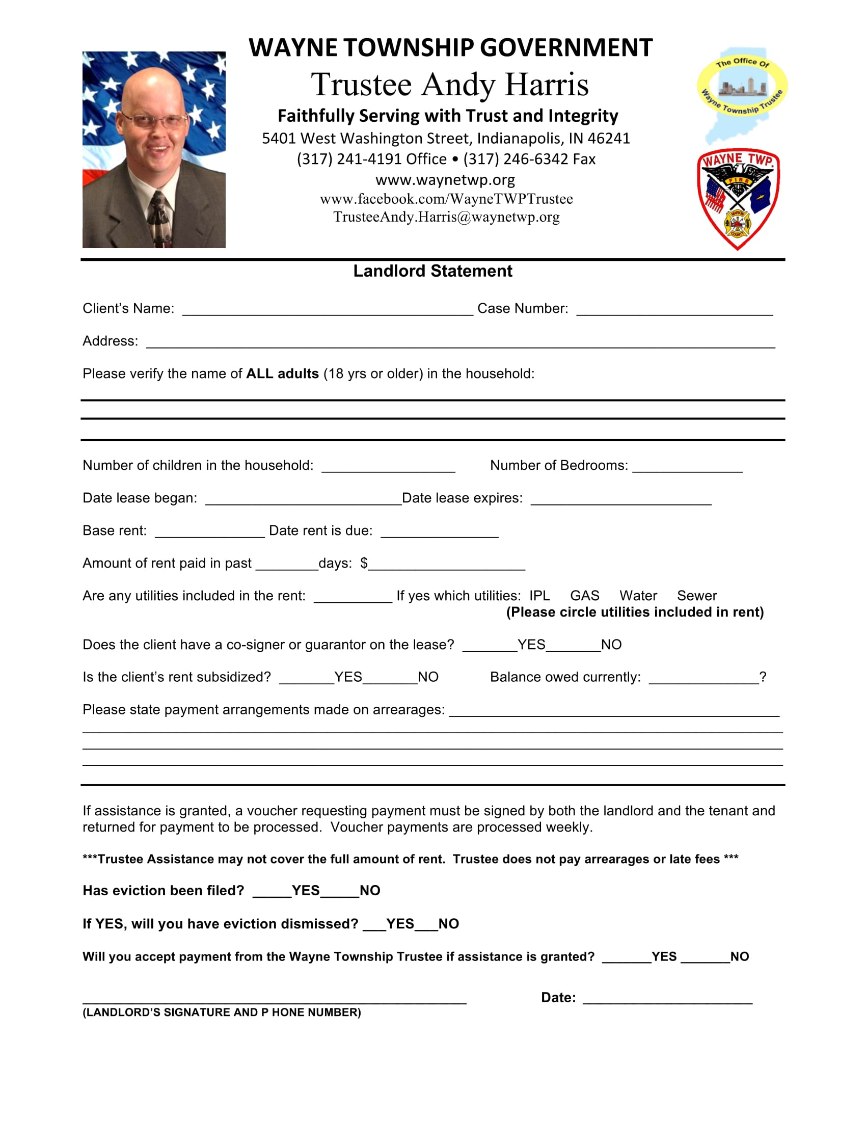 trustee assistance landlord statement form 1