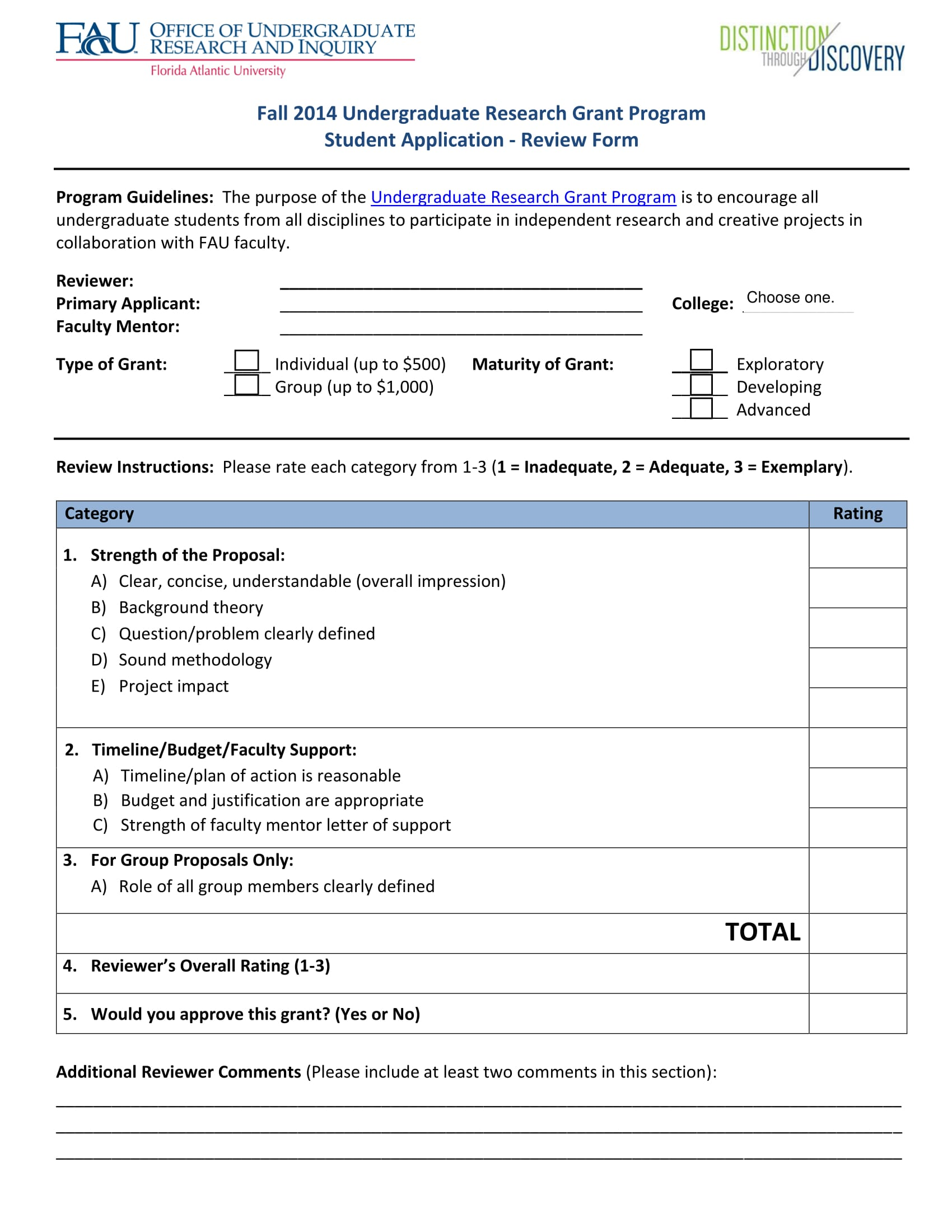 undergraduate research grant review form 1