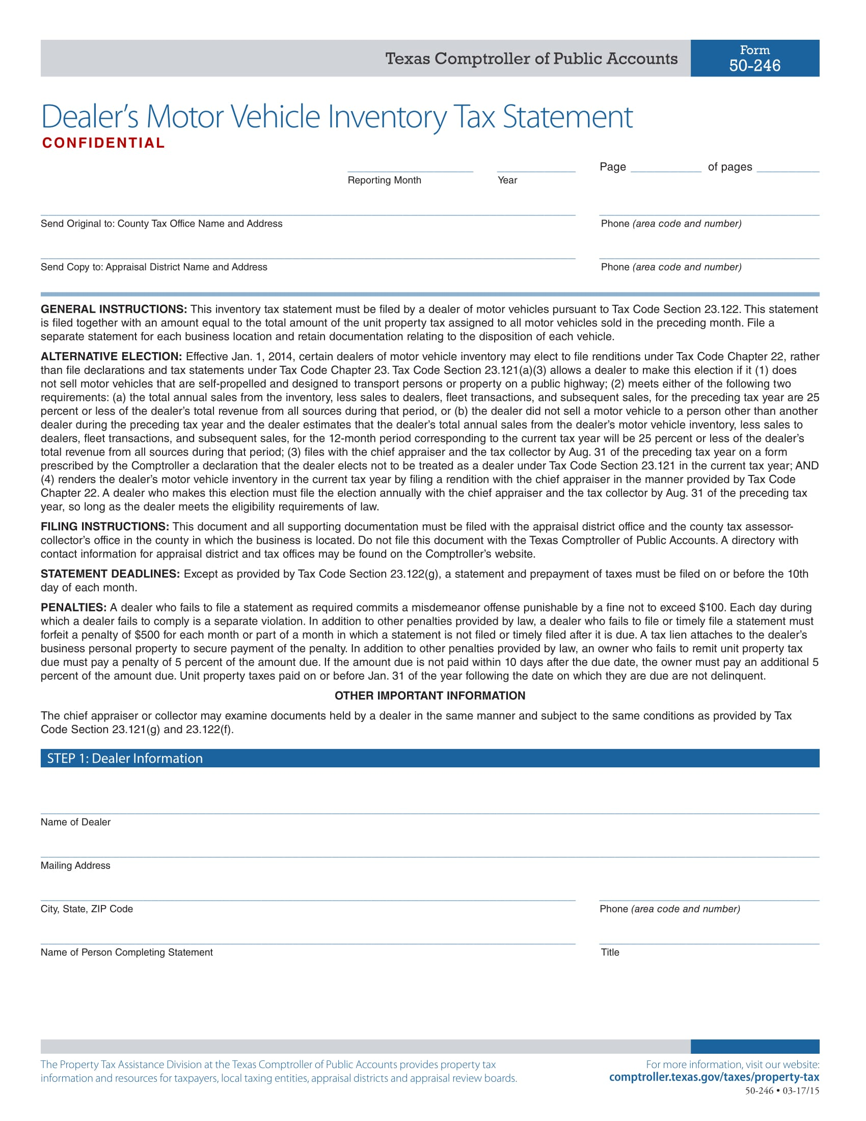 vehicle inventory tax statement 1
