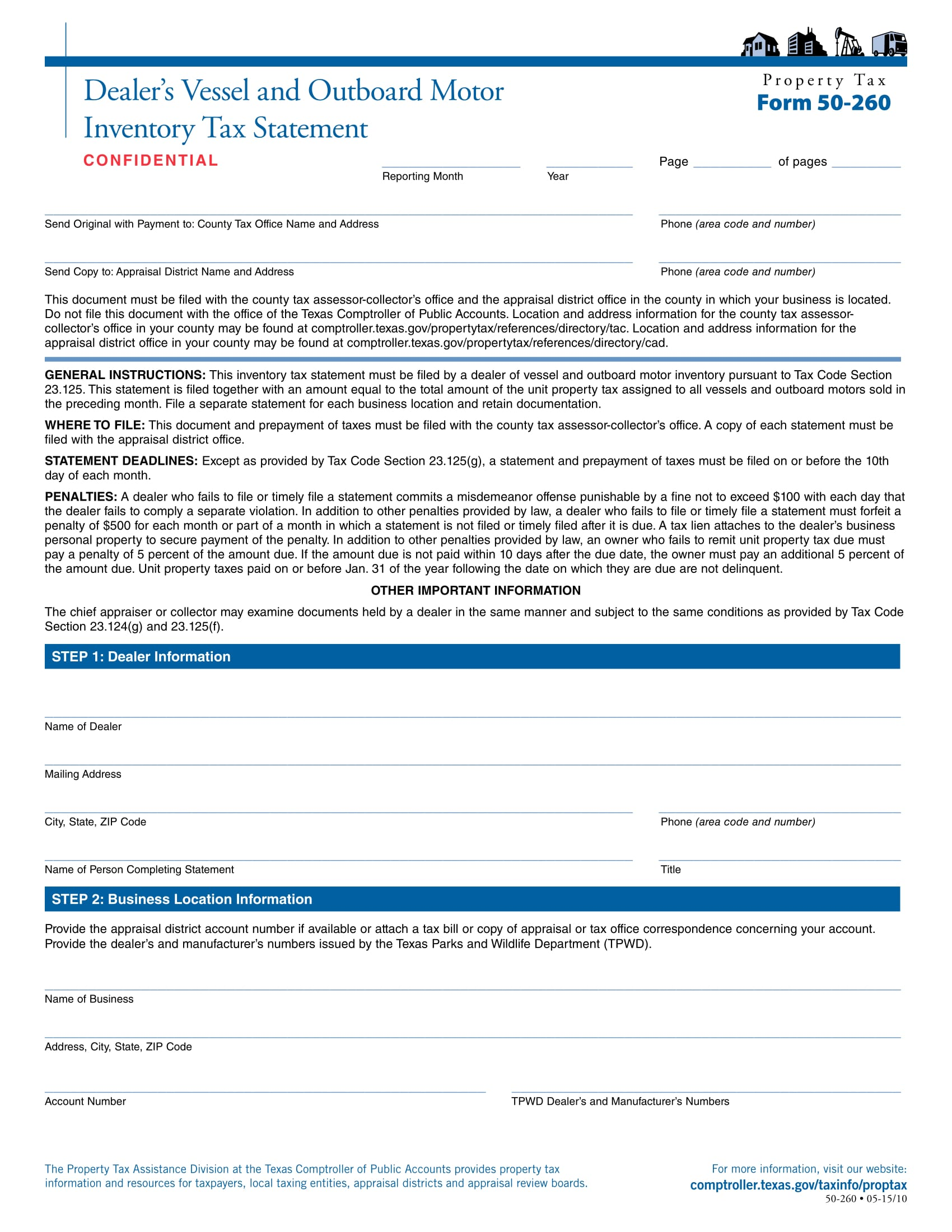 vessel inventory tax statement form 1
