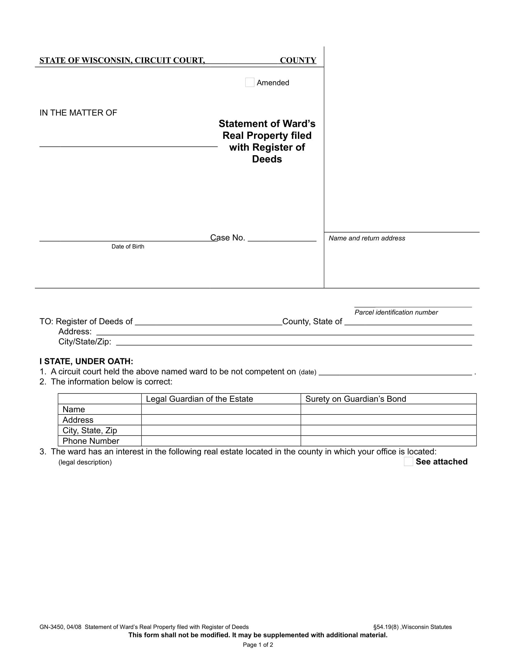 wards real property statement form 1