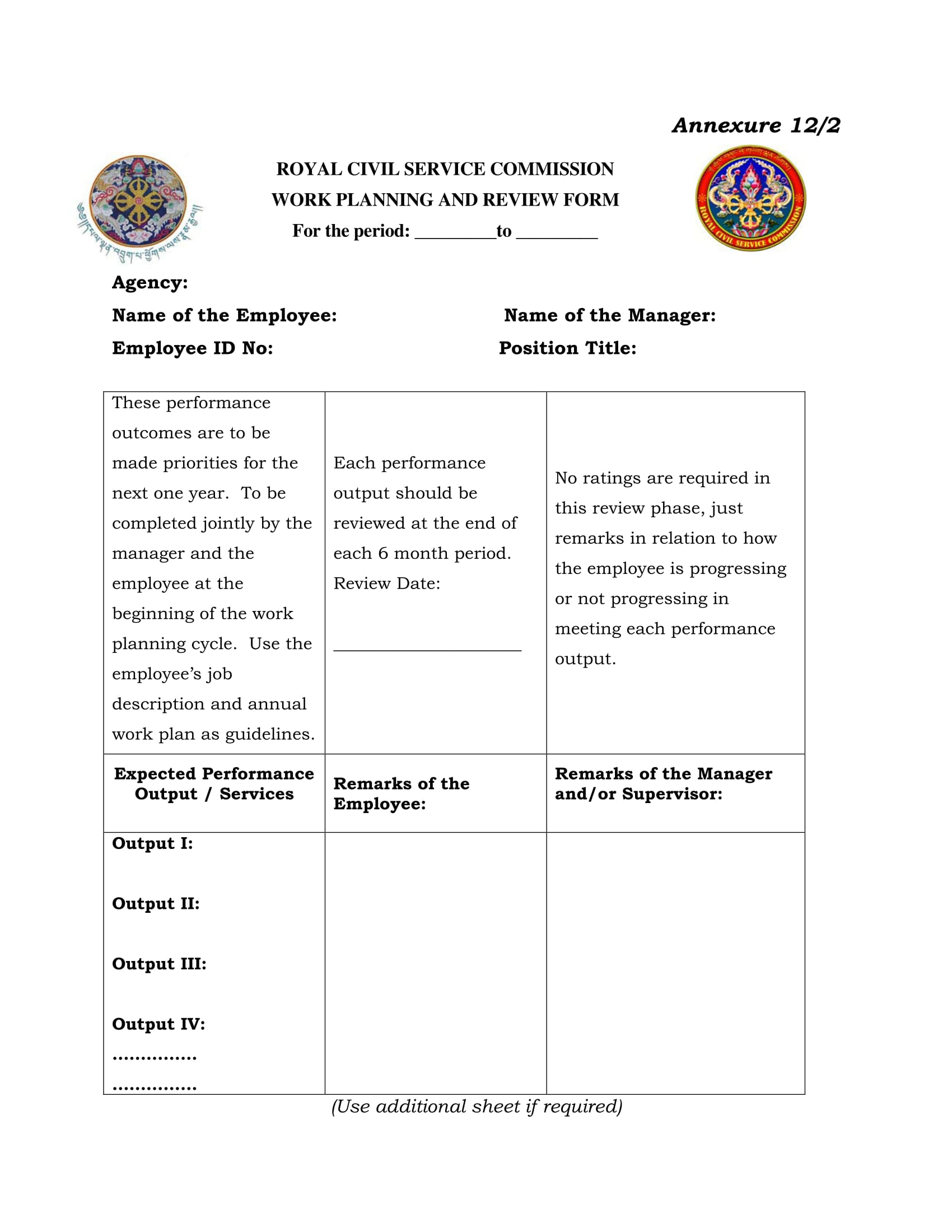 work planning and review form 1