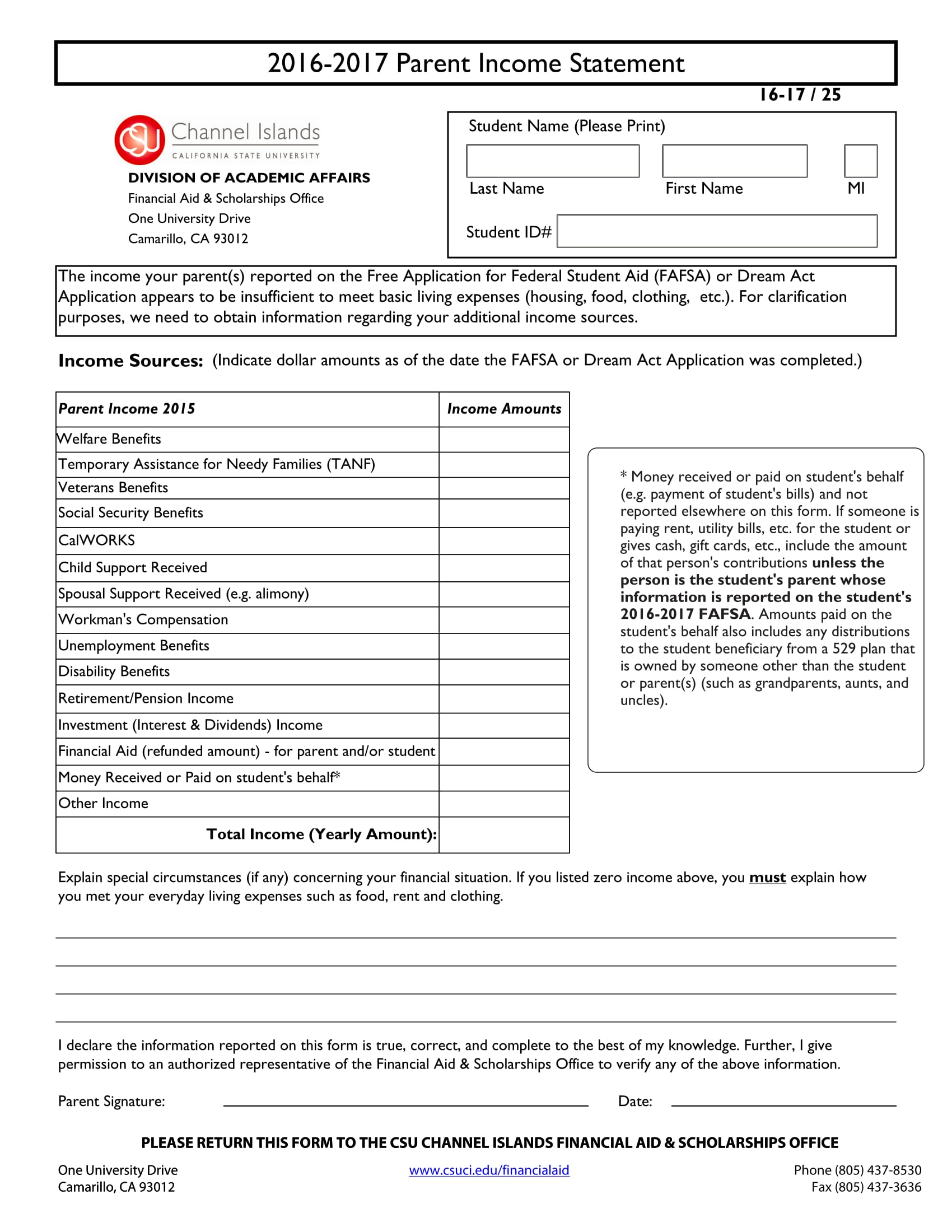 yearly parent income statement form 1