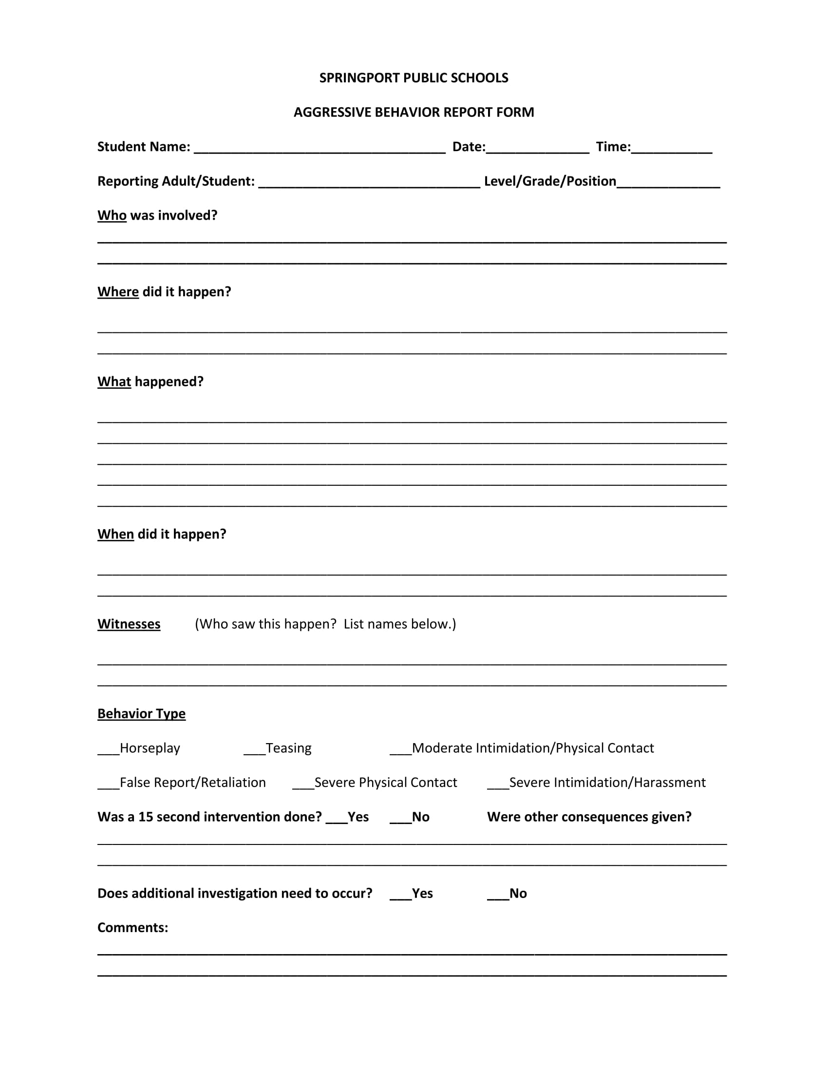 aggresive behavior report form 1