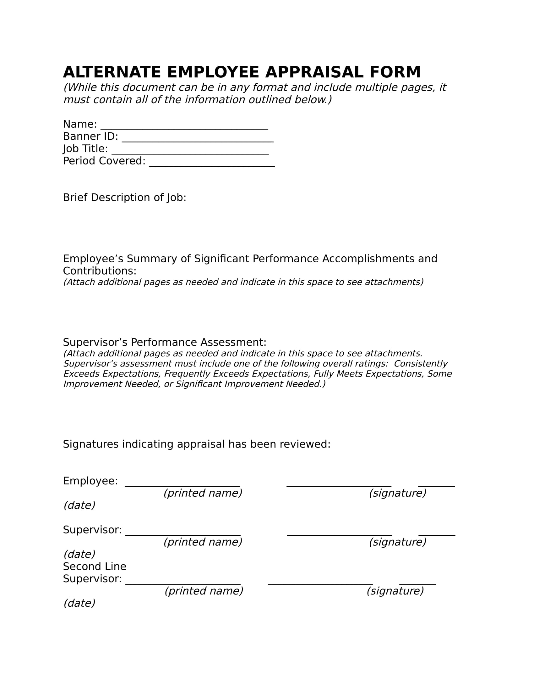 14 employee appraisal forms free word pdf xls format download alternate employee appraisal form falaconquin