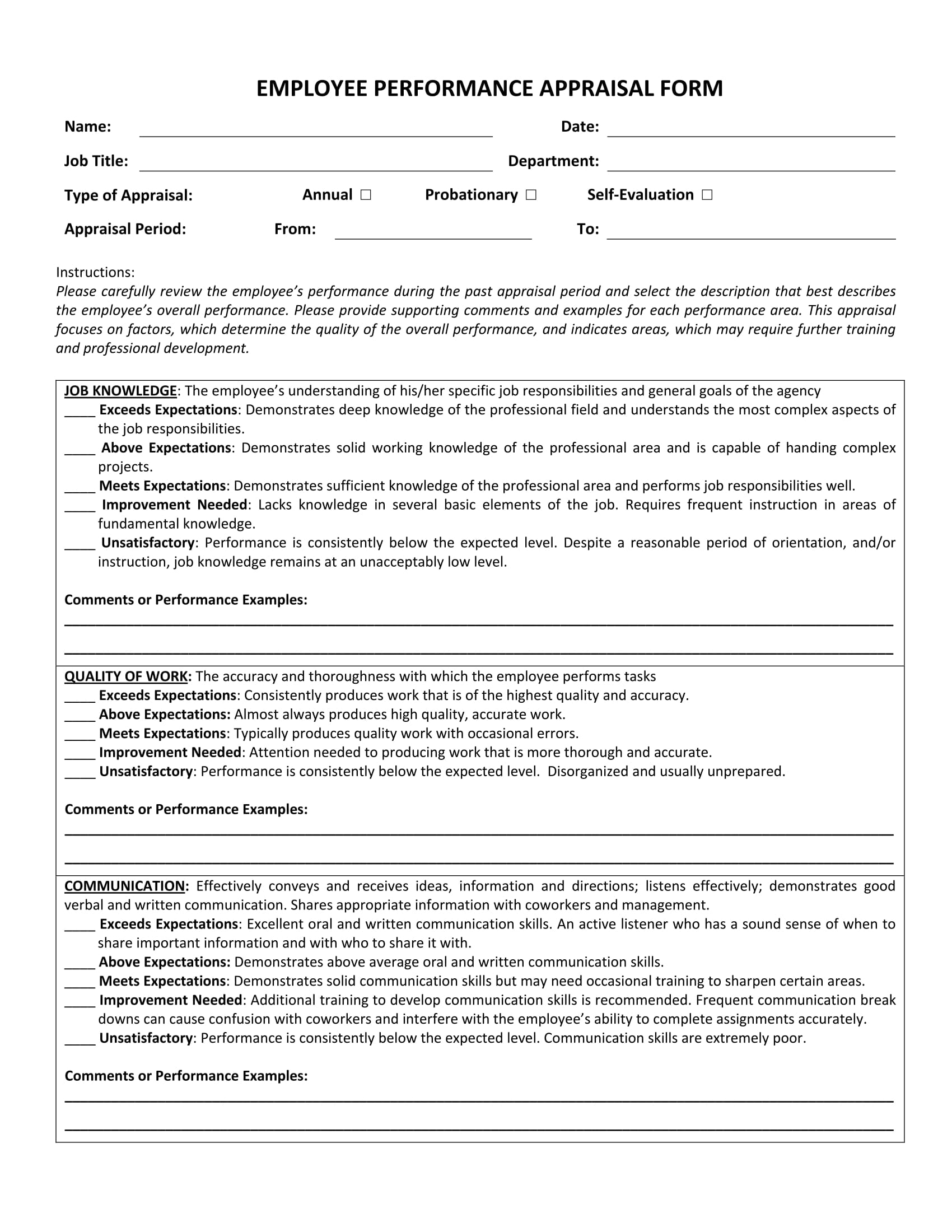 14 employee appraisal forms free word pdf xls format download annual employee performance appraisal form 1 falaconquin