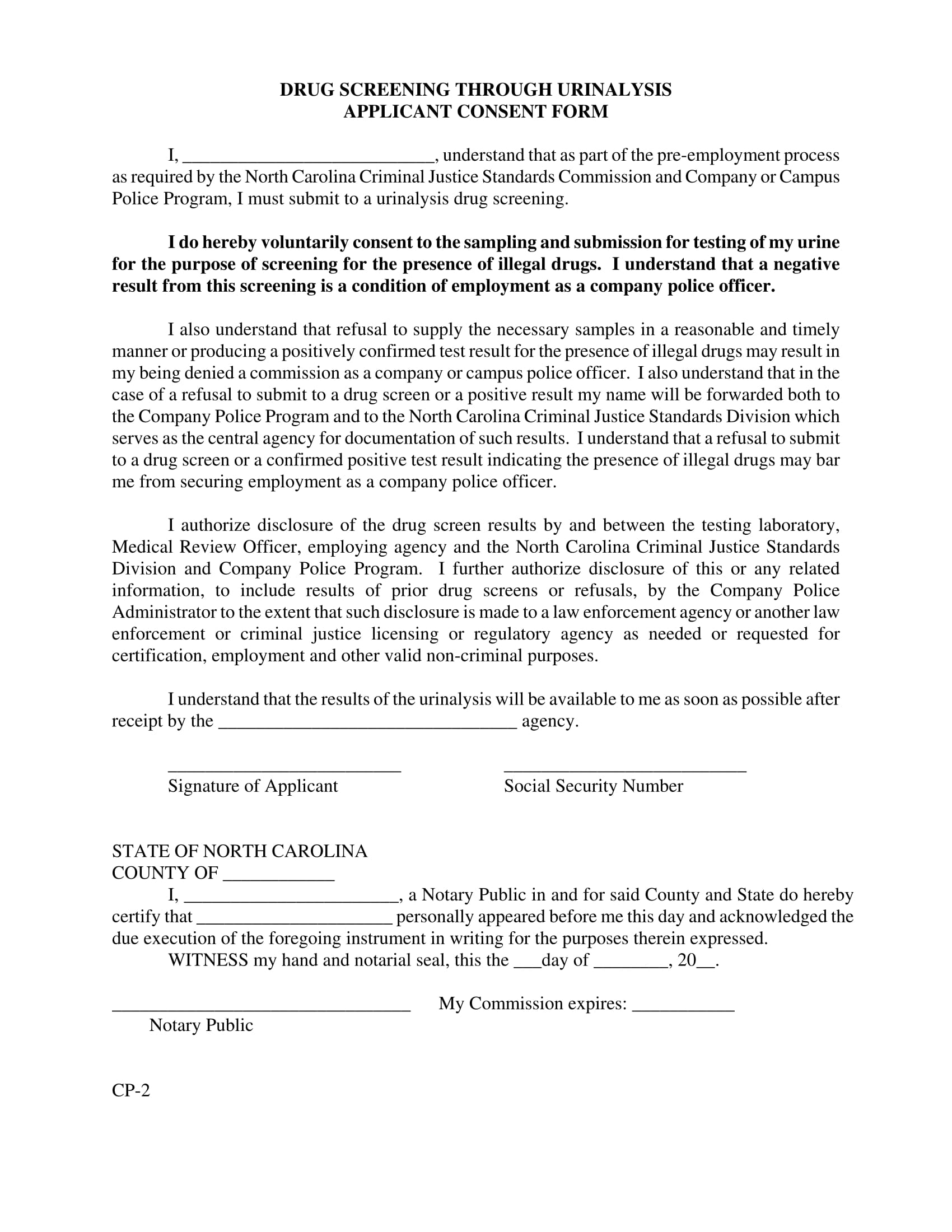 applicant drug screening consent form 1
