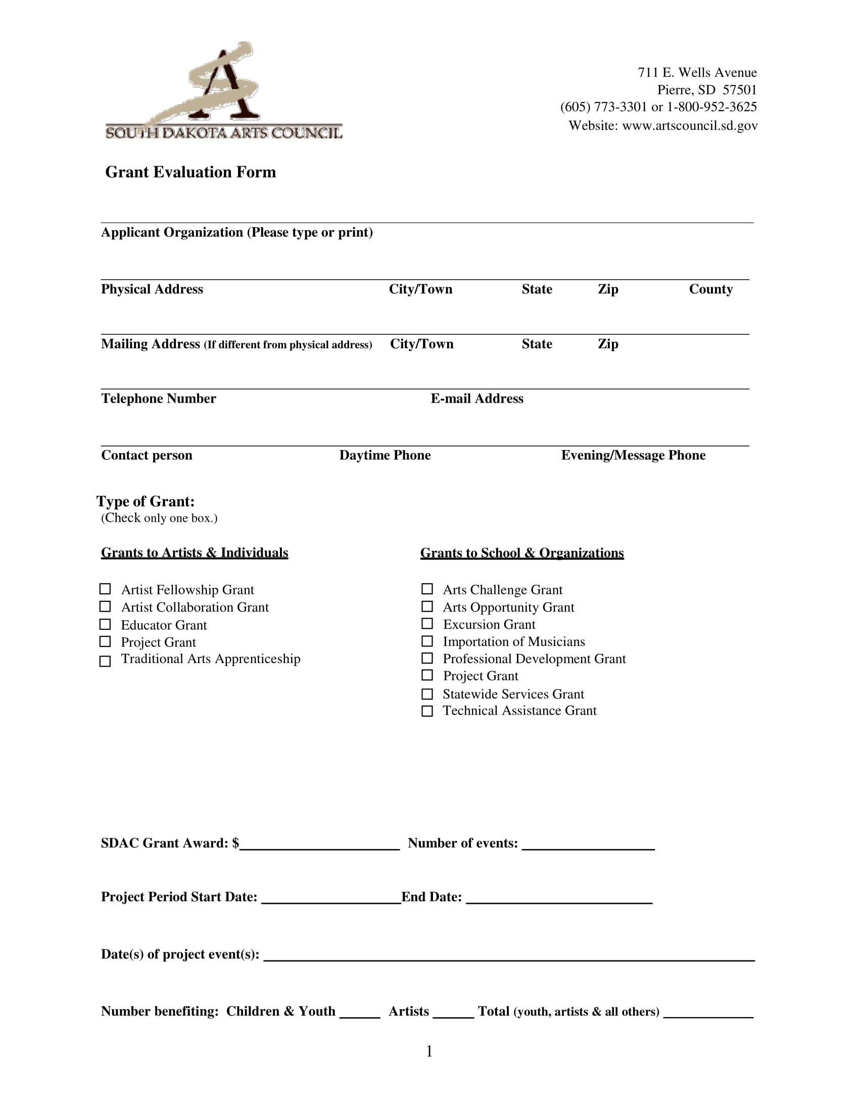 arts council grant evaluation form 1