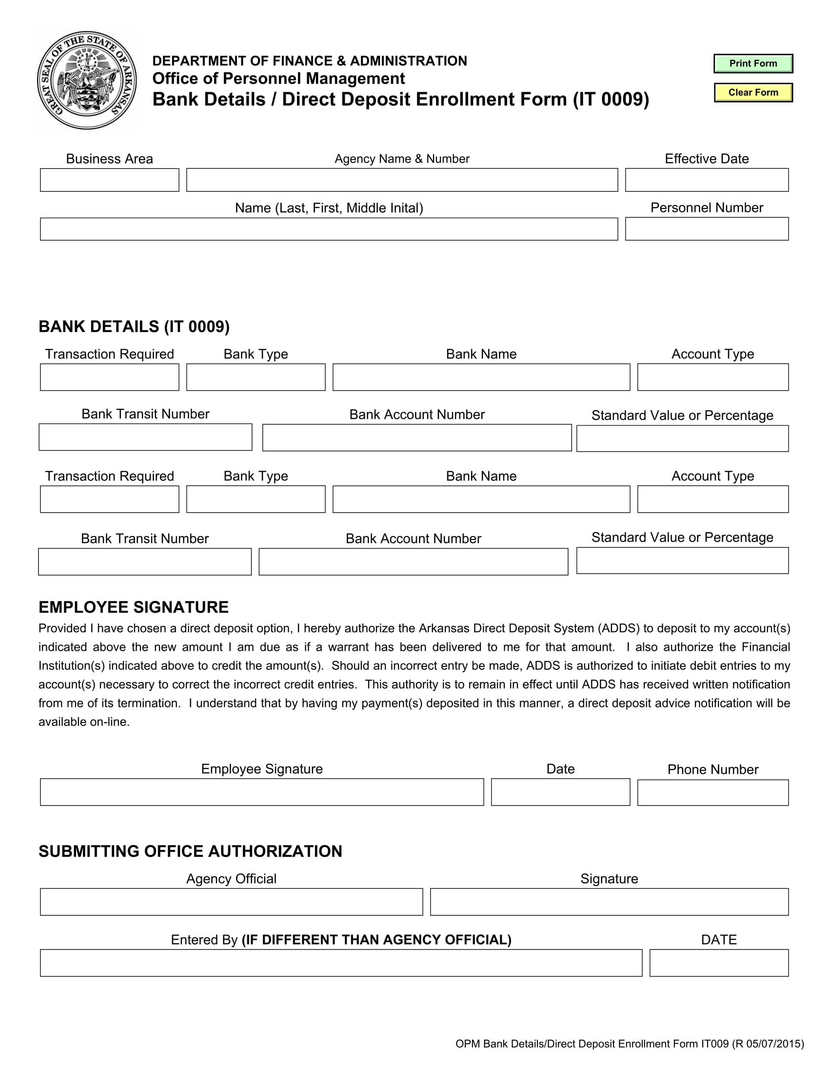 bank details direct deposit enrollment form 11