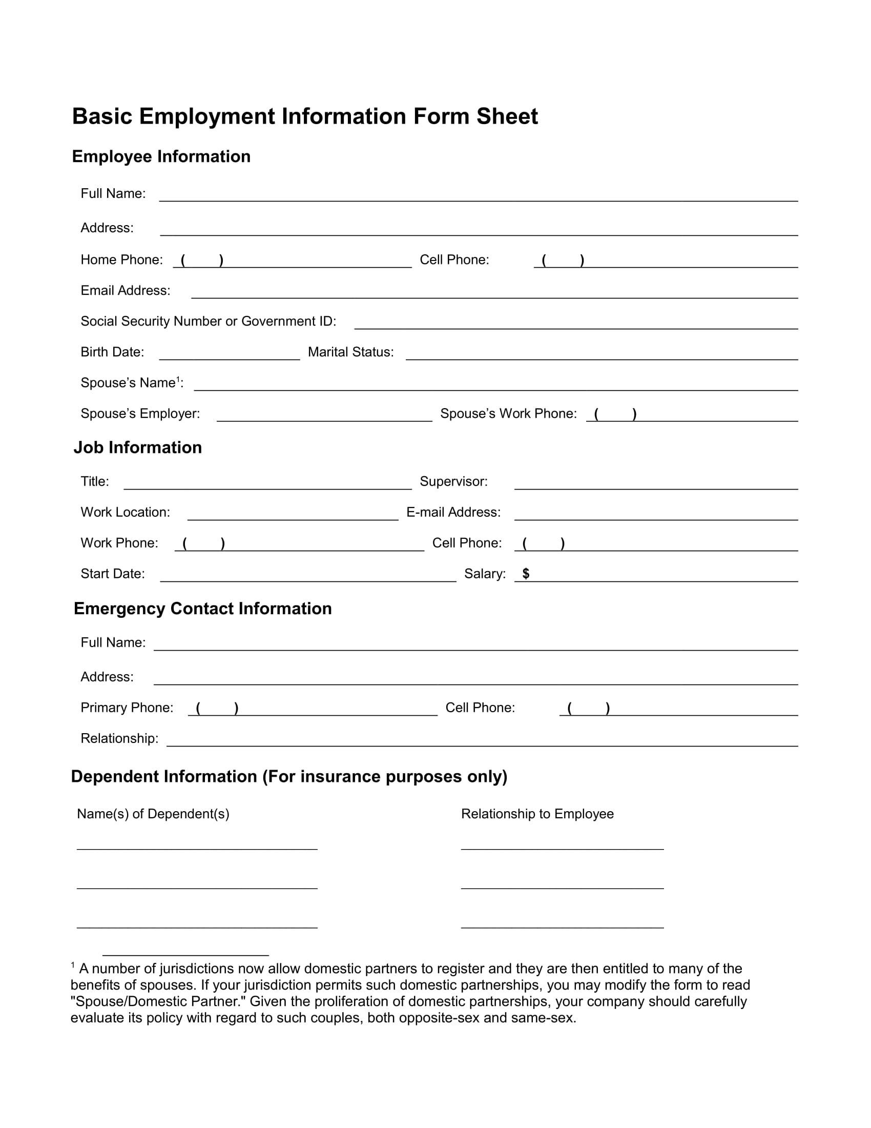 basic employment information form sheet 1