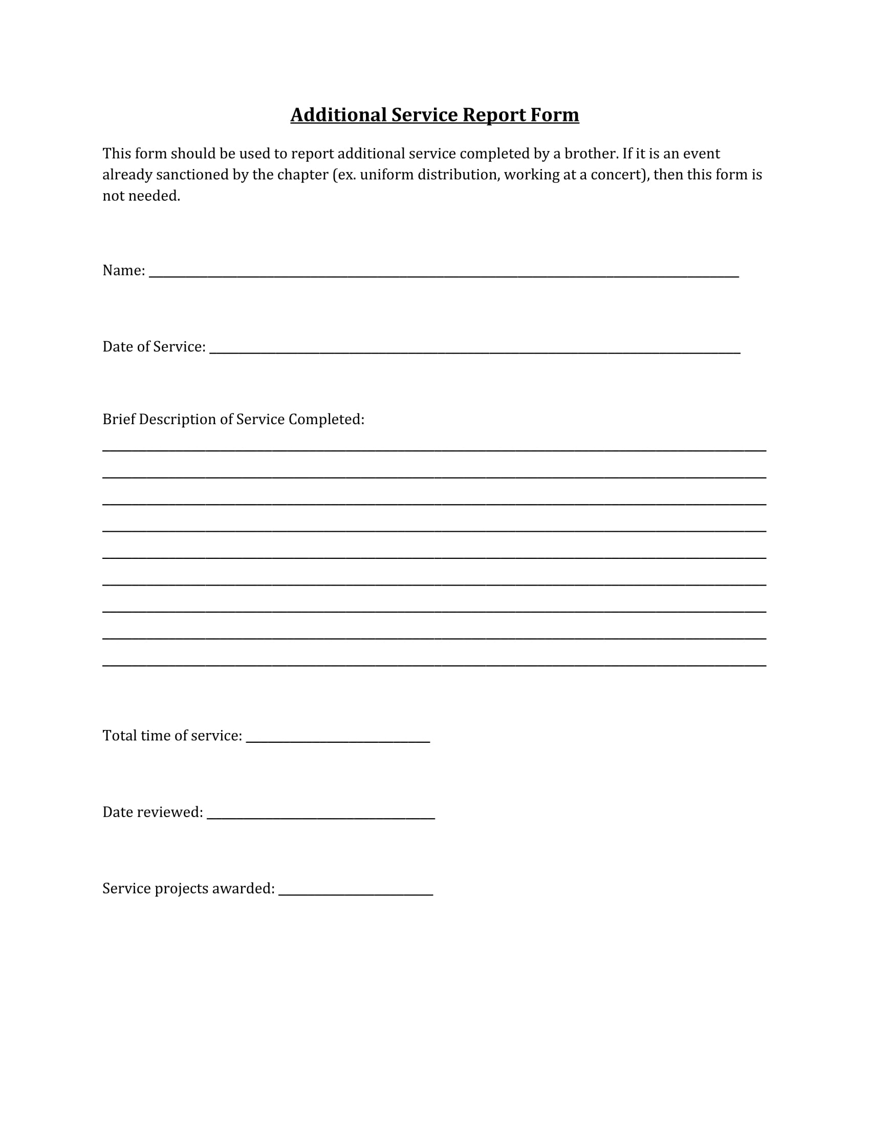 basic service report form 1