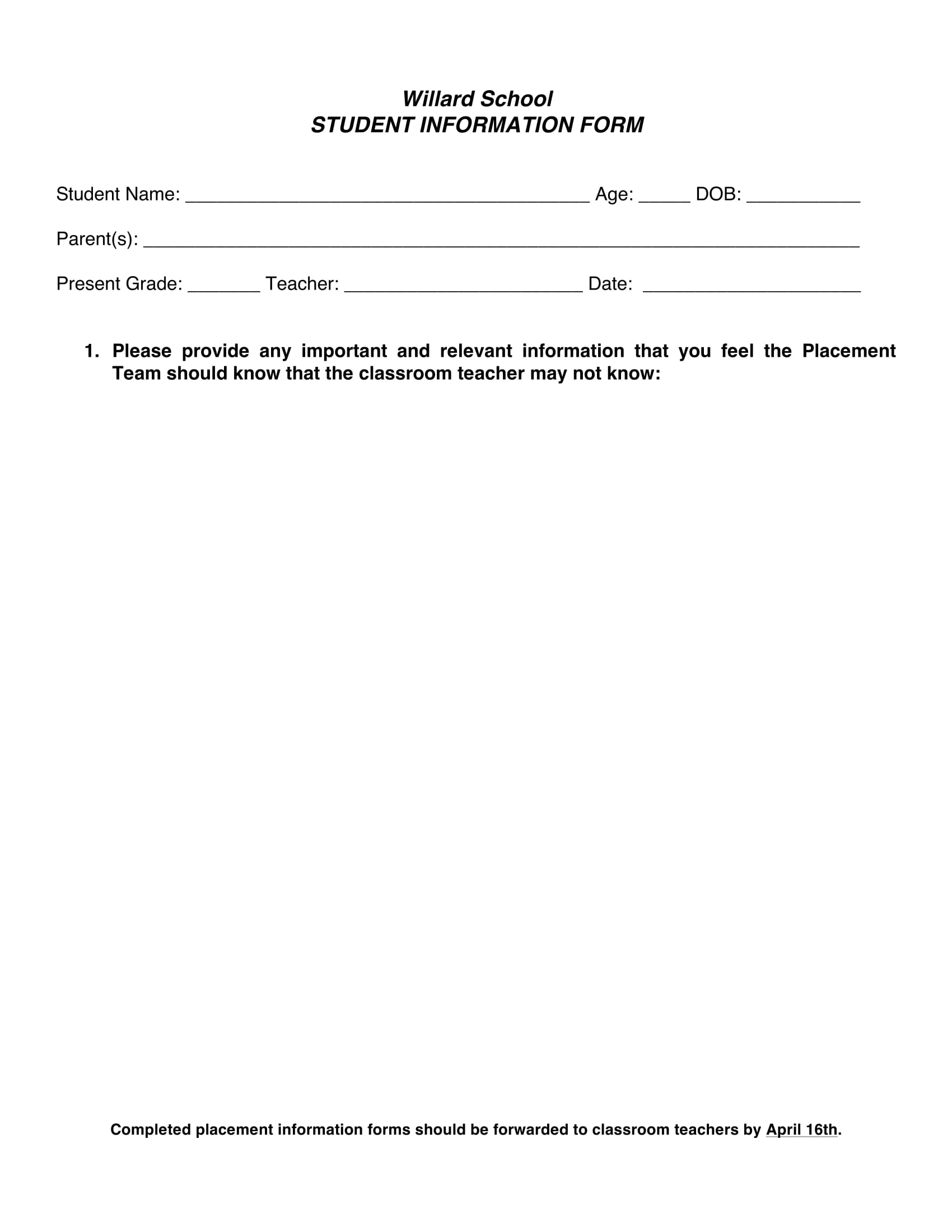 basic student information form 1