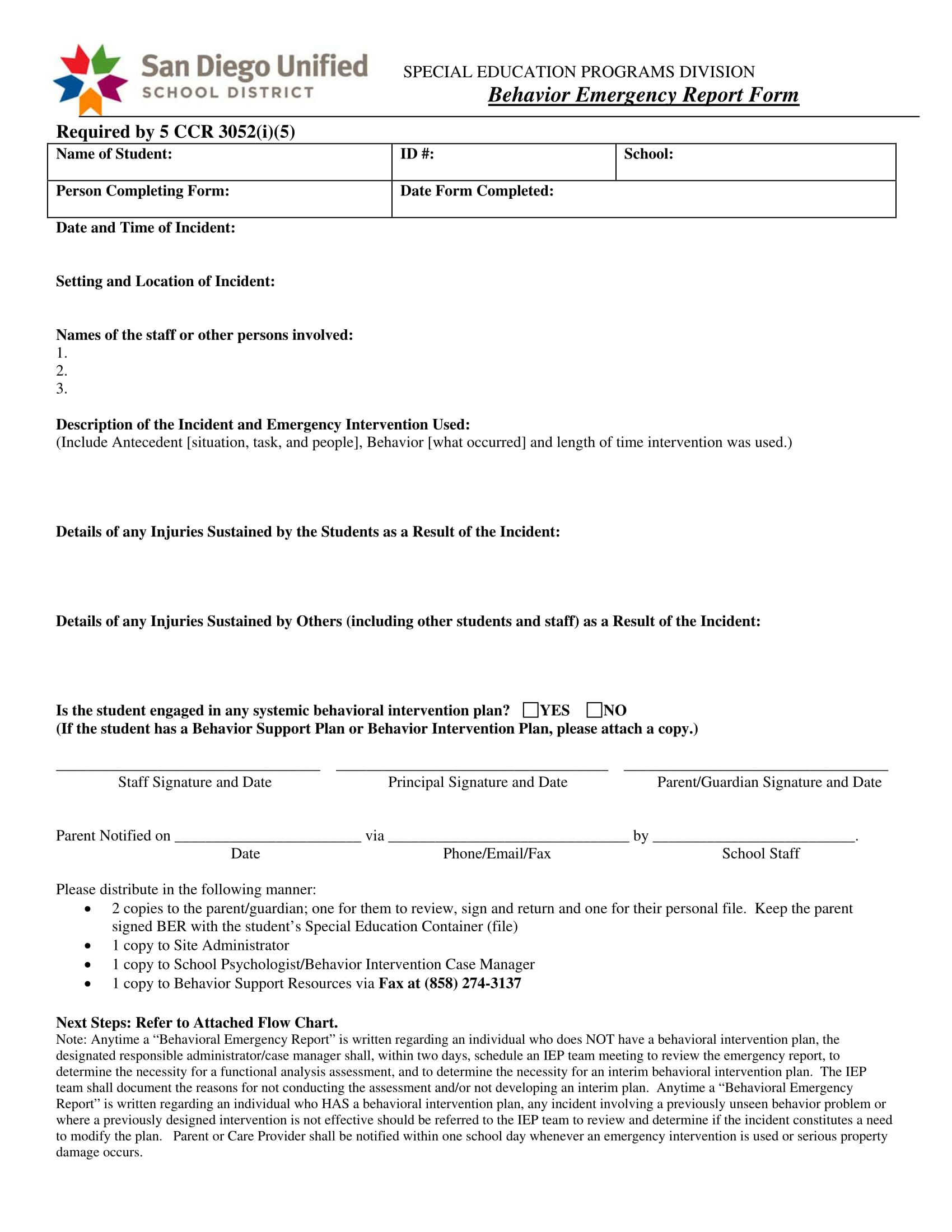 behavior emergency report form 1