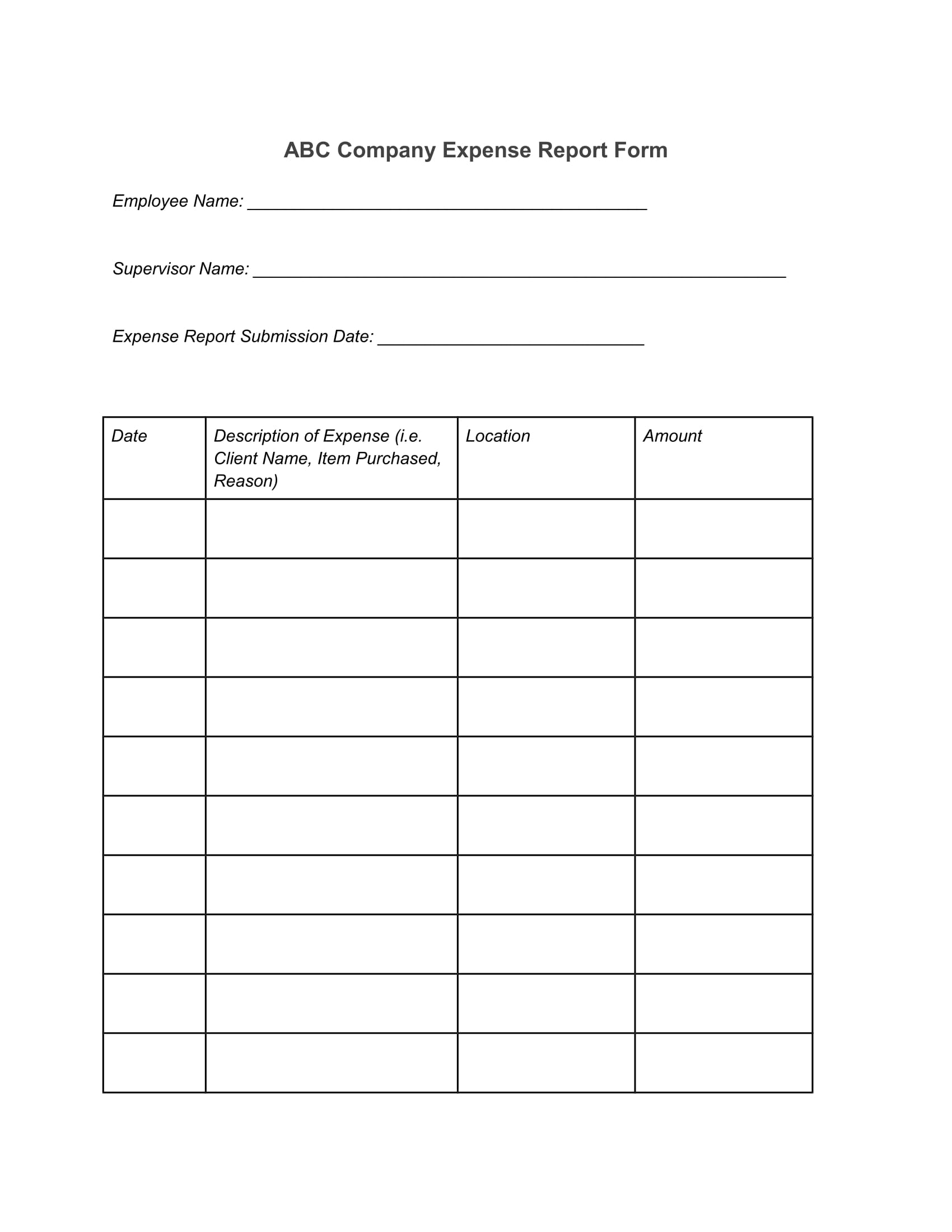 12 Expense Report Forms Free Word Pdf Format