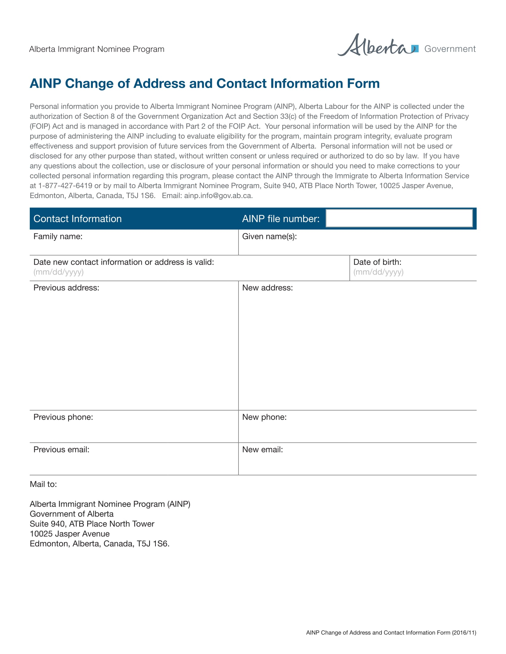 change of contact information form 1