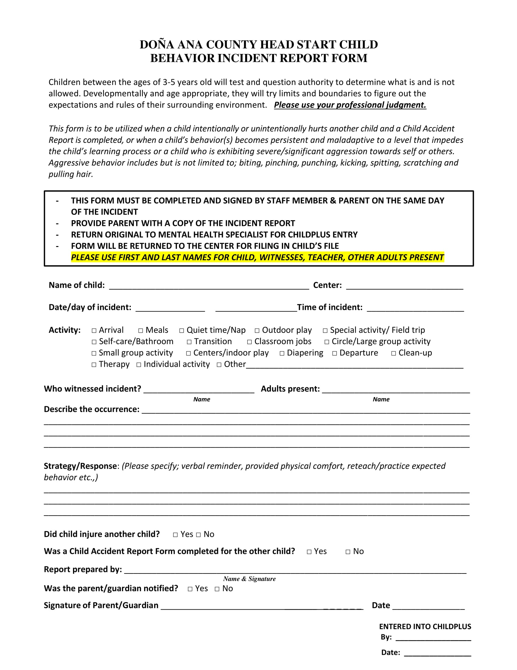 child behavior incident report form 1