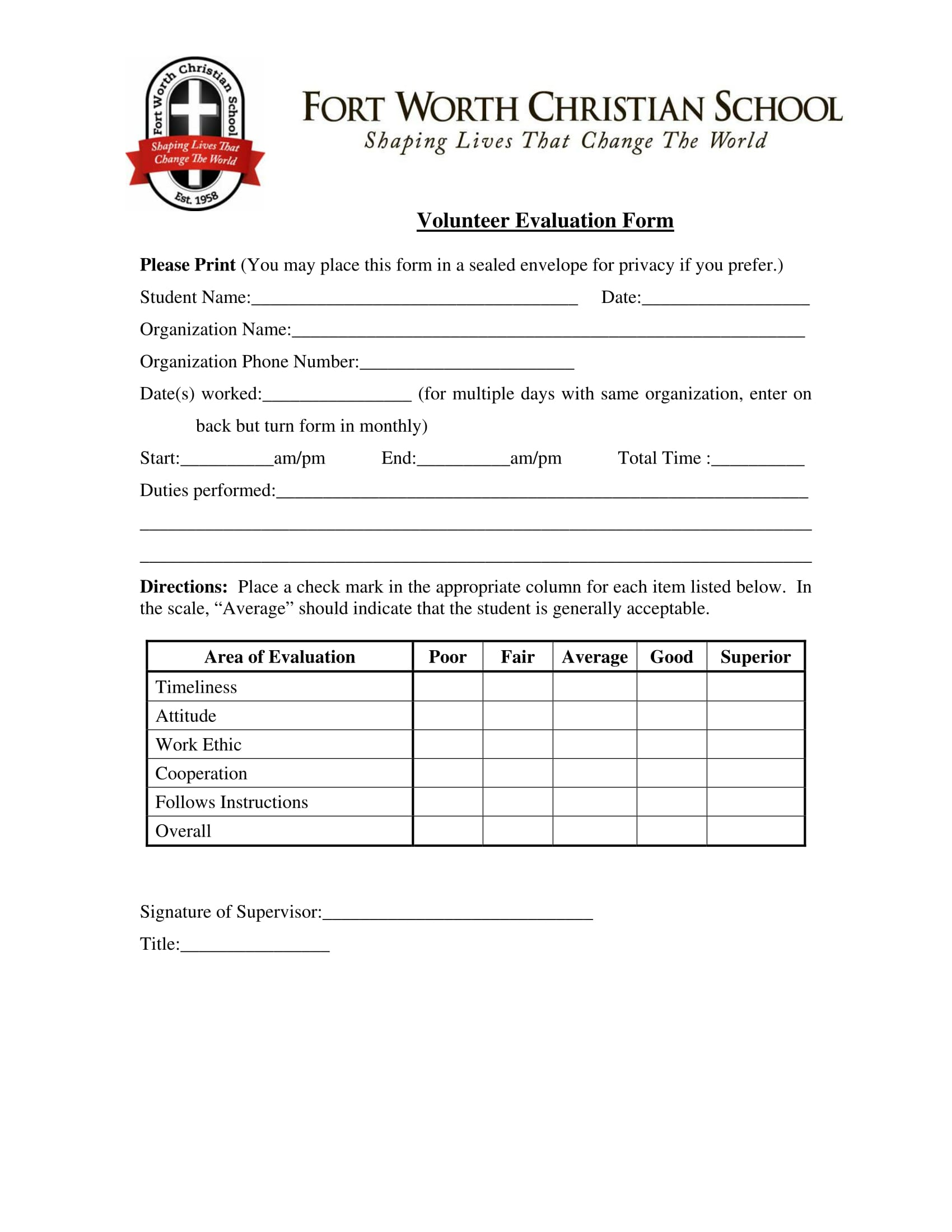 christian volunteer evaluation form 1
