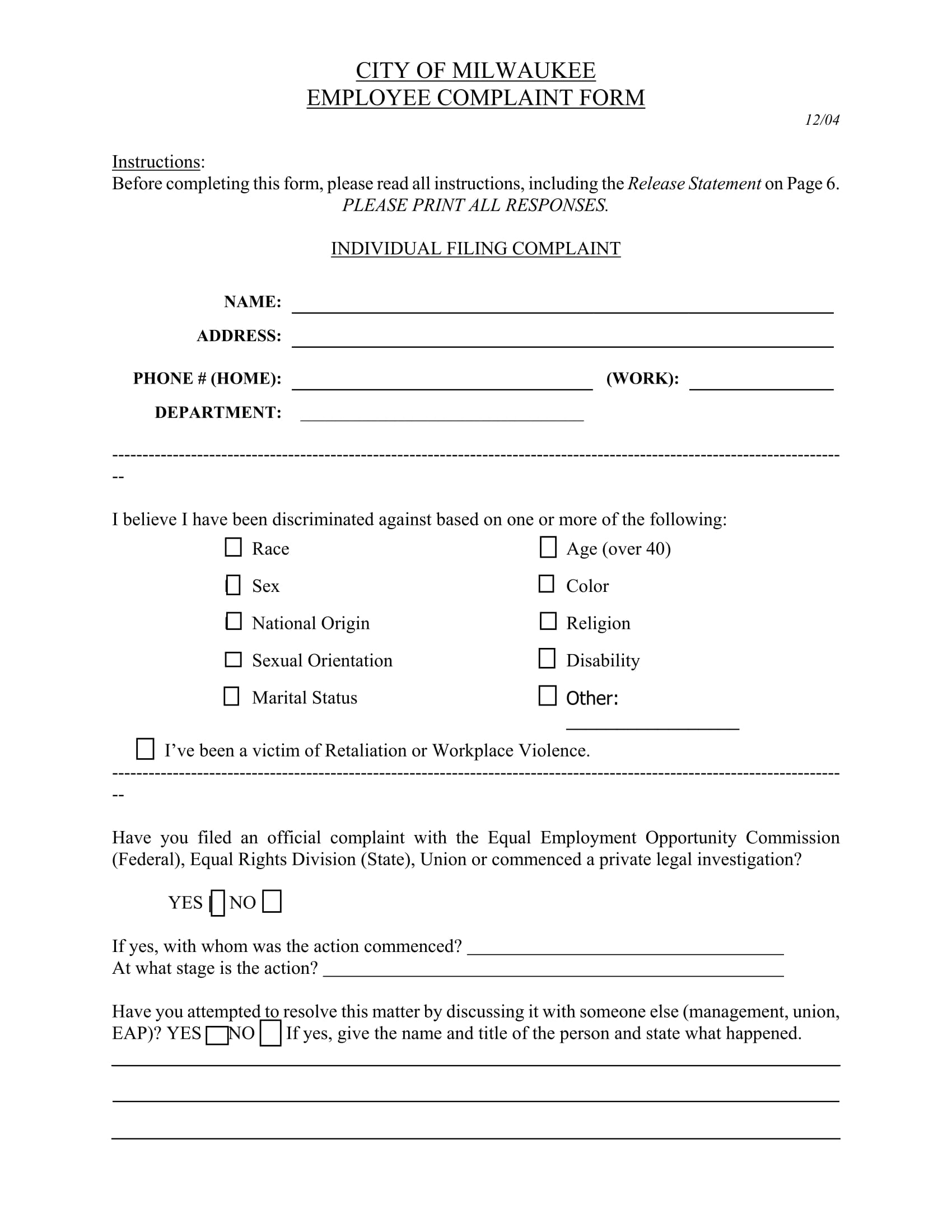 city employee complaint form 1