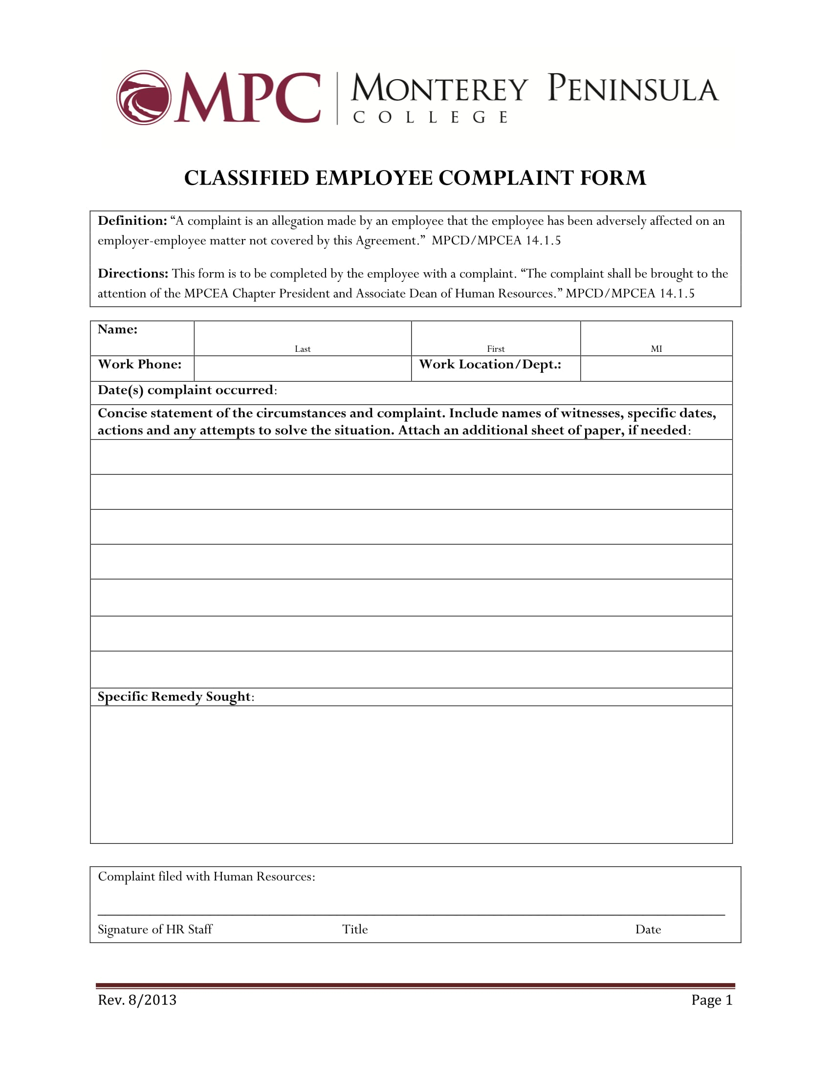 classified employee complaint form 1